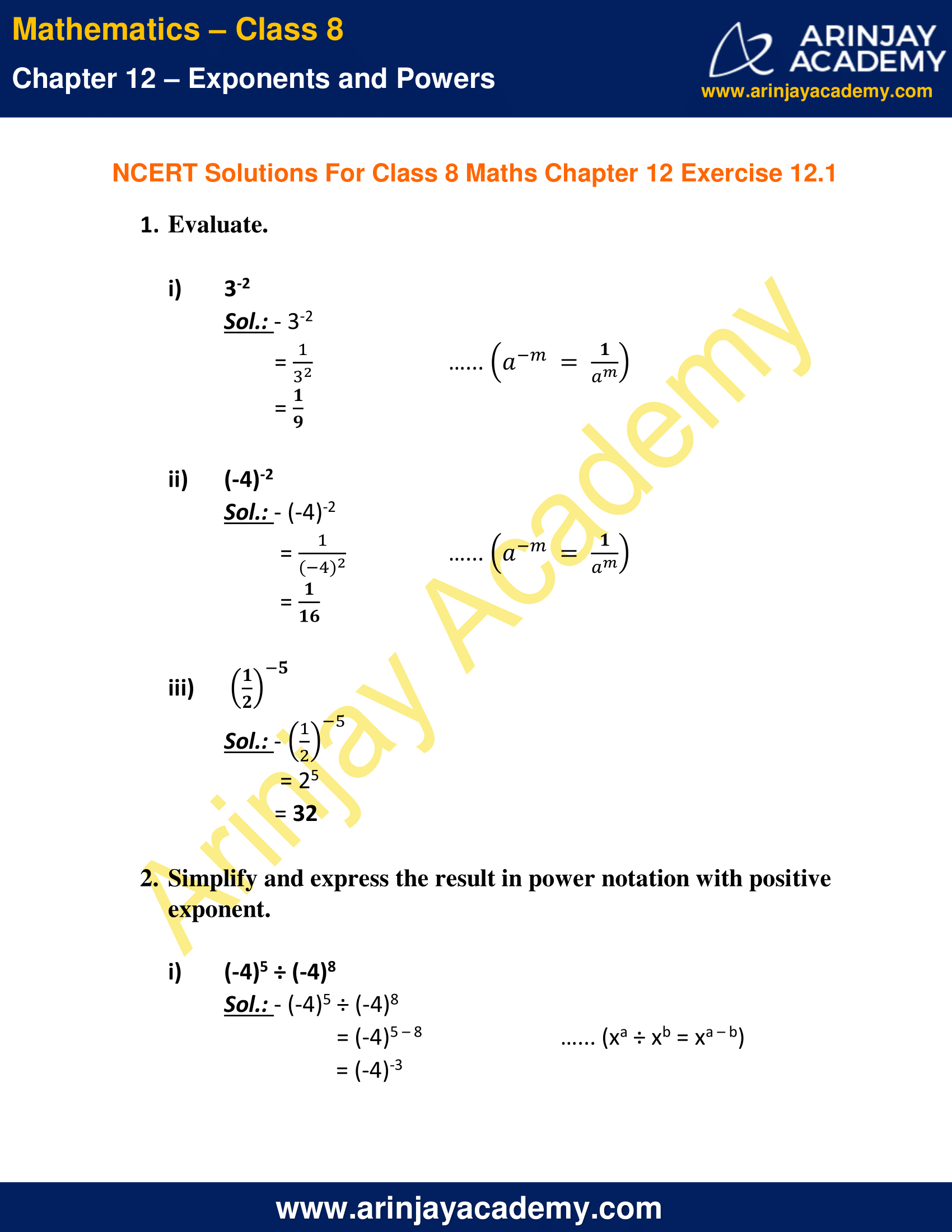 NCERT Solutions for Class 8 Maths Chapter 12 Exercise 12.1 image 1