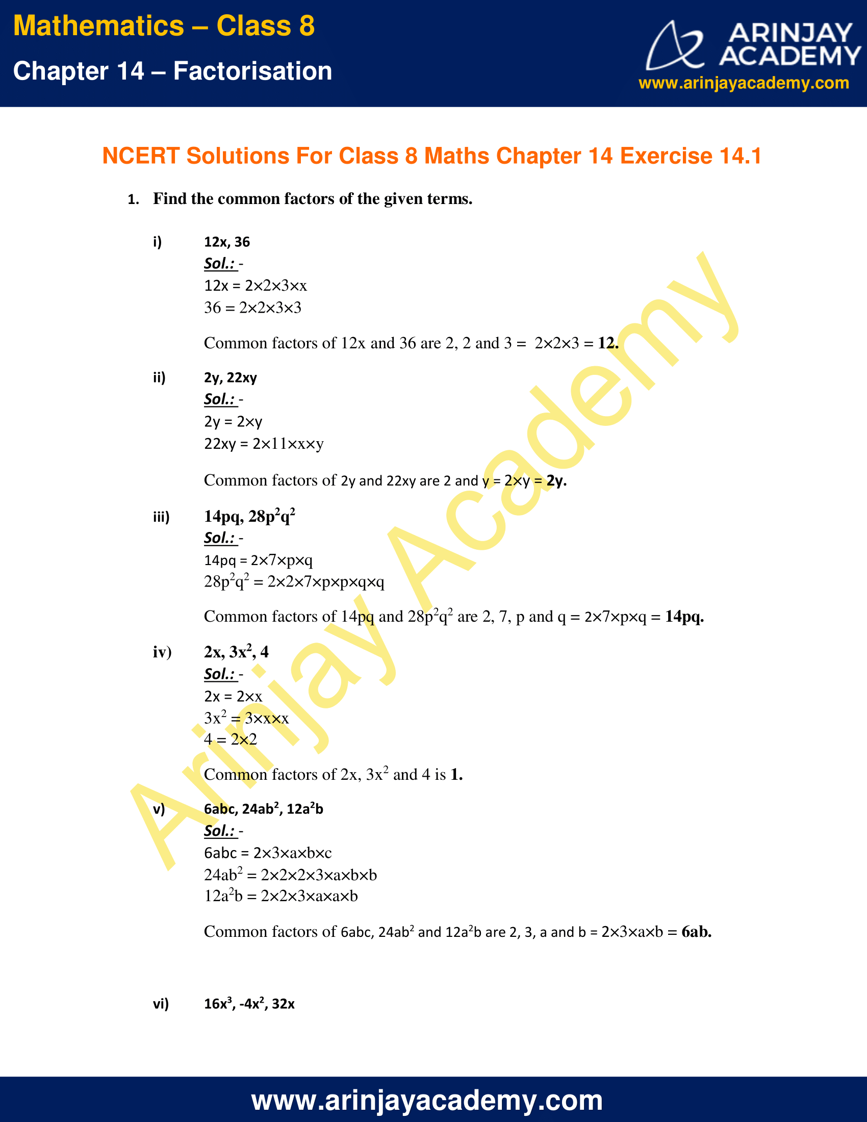 NCERT Solutions for Class 8 Maths Chapter 14 Exercise 14.1 image 1
