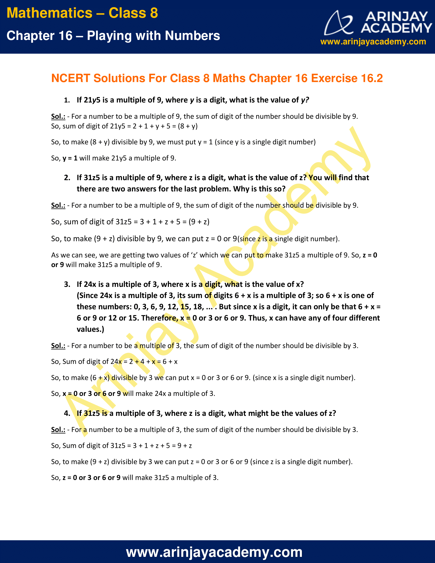 NCERT Solutions for Class 8 Maths Chapter 16 Exercise 16.2
