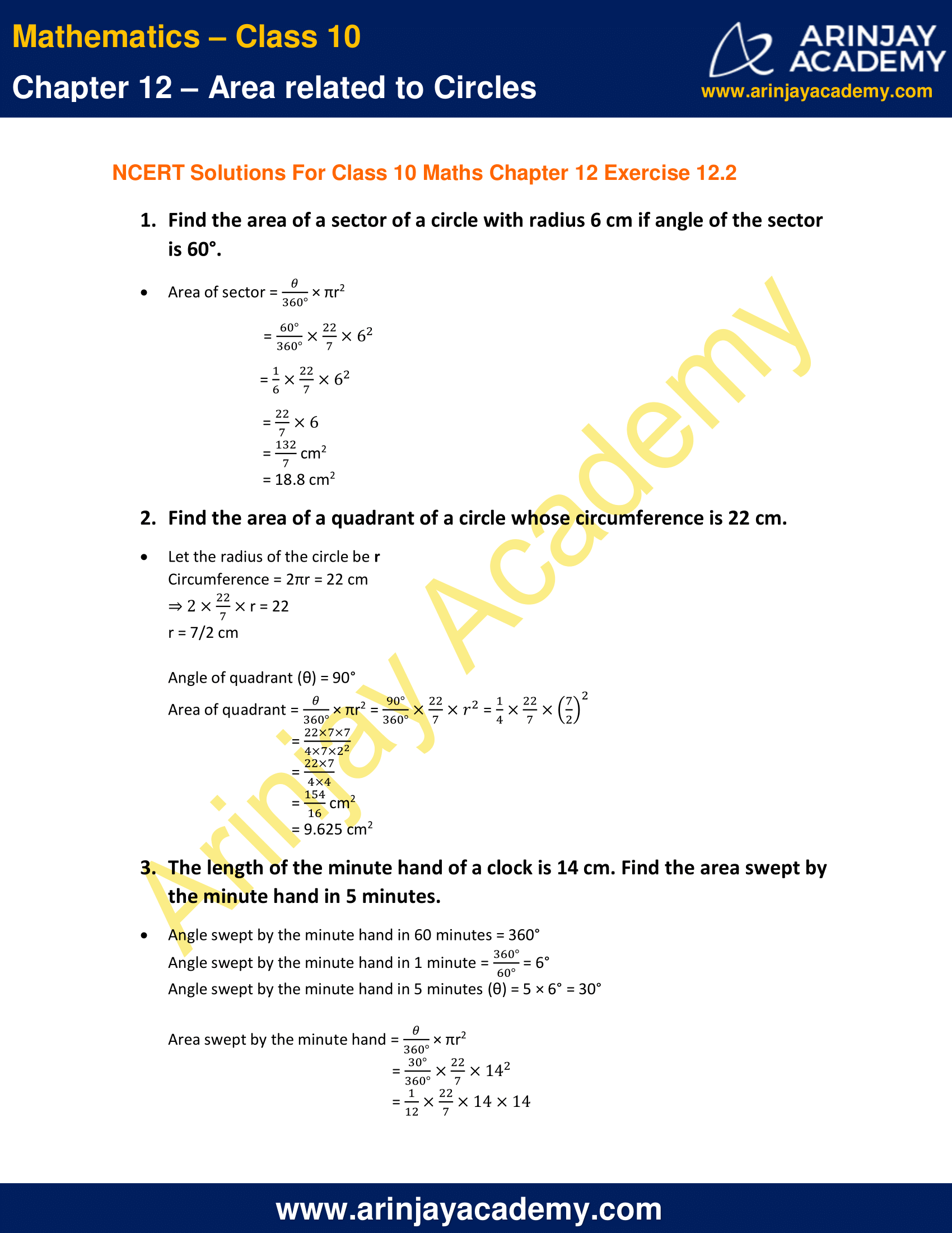 NCERT Solutions For Class 10 Maths Chapter 12 Exercise 12.2 image 1