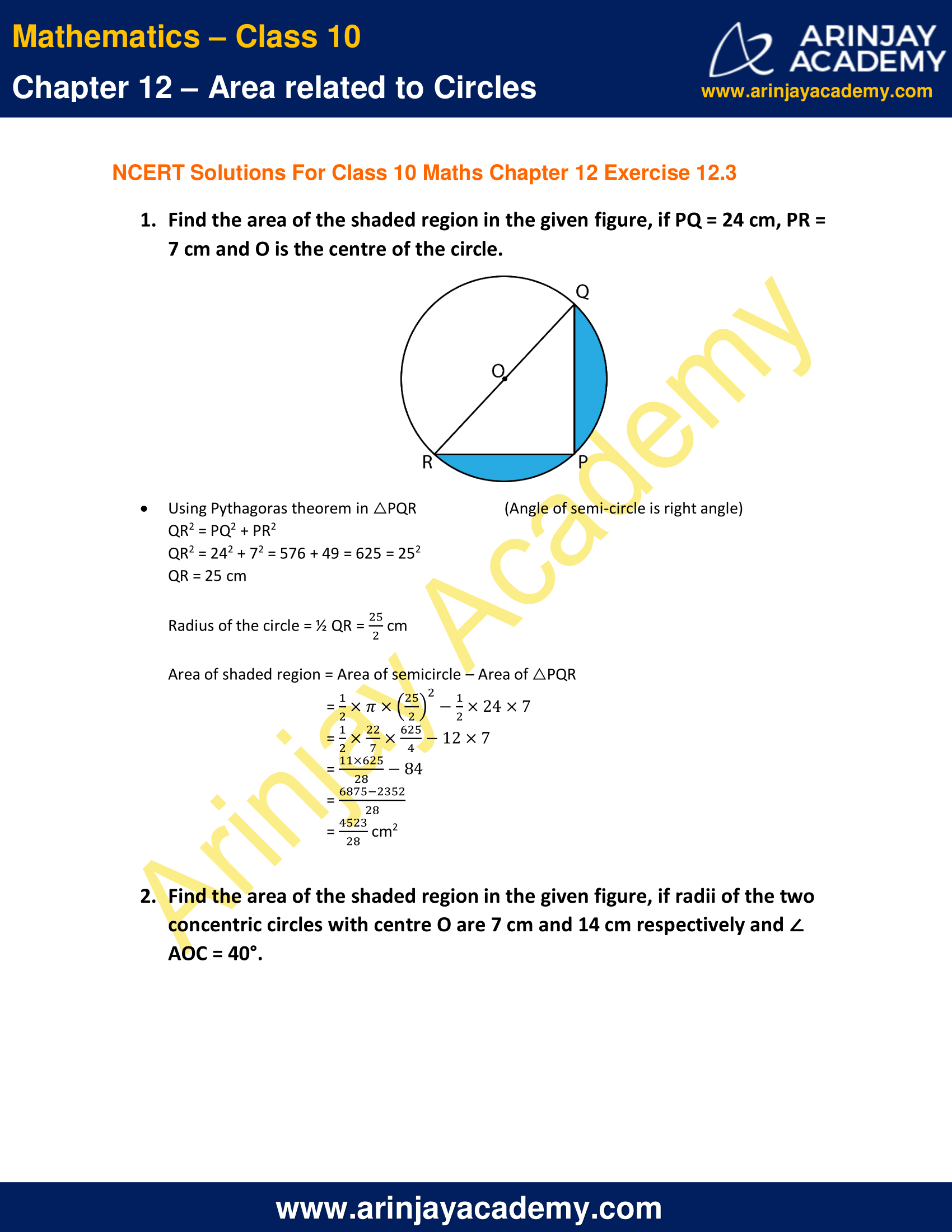 NCERT Solutions For Class 10 Maths Chapter 12 Exercise 12.3 image 1