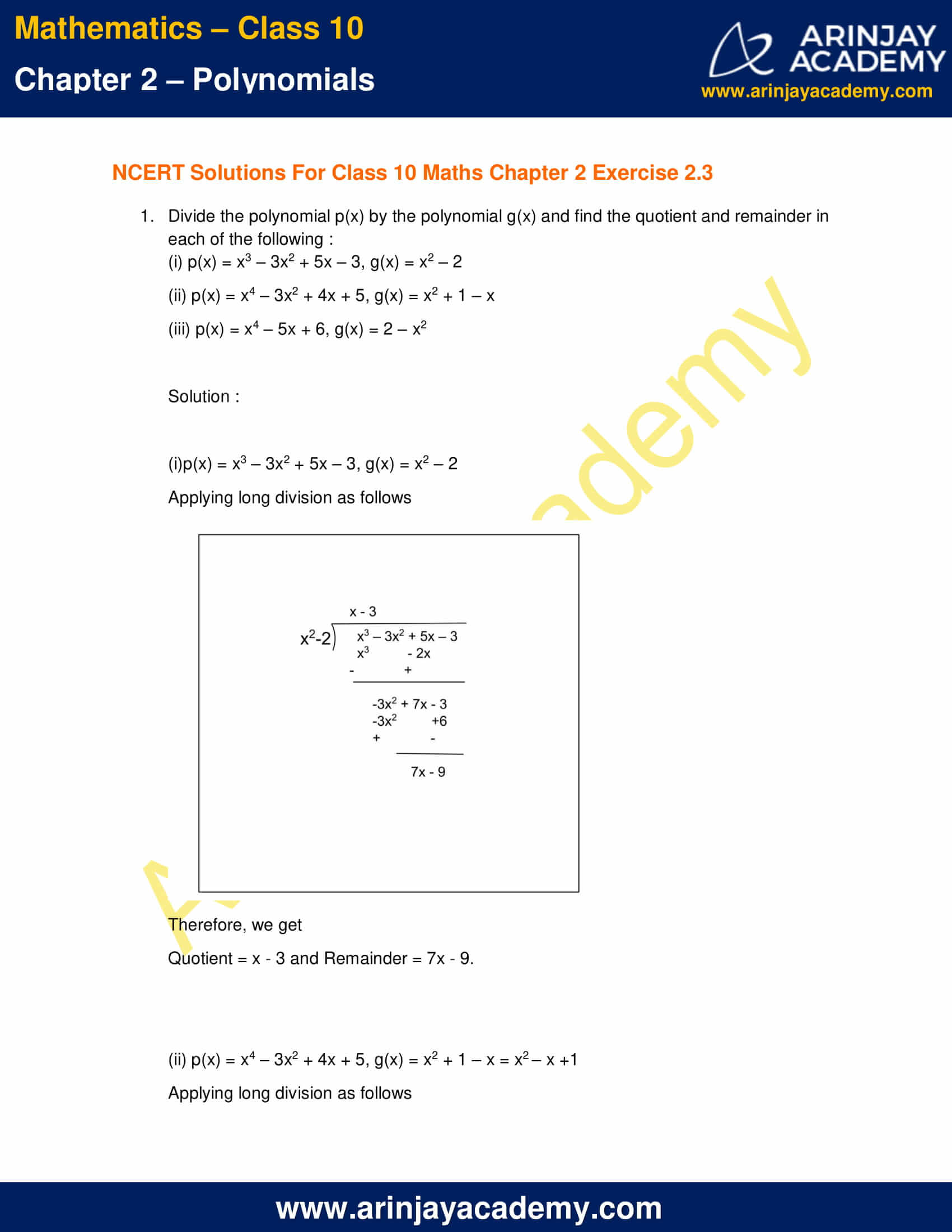 NCERT Solutions For Class 10 Maths Chapter 2 Exercise 2.3 part 1