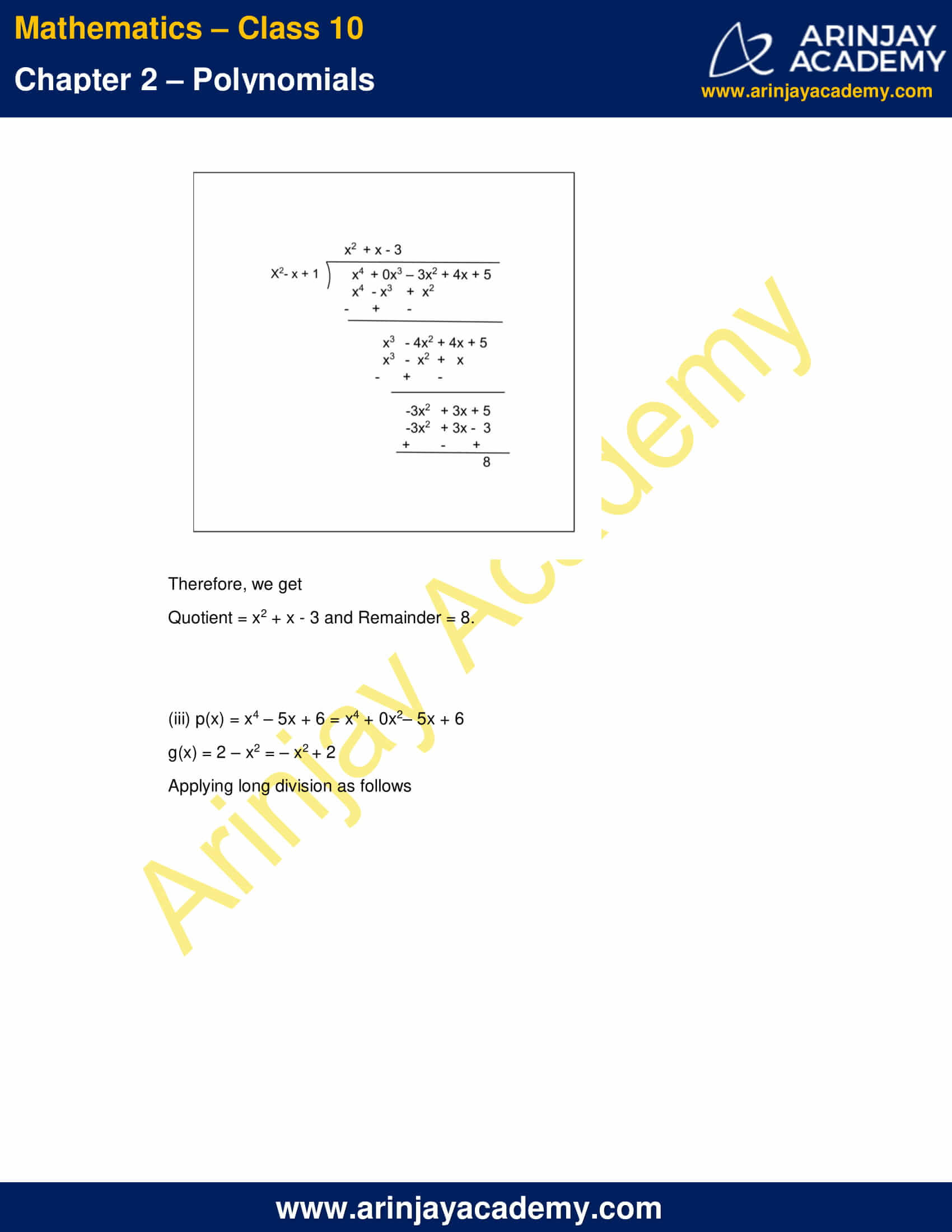 NCERT Solutions For Class 10 Maths Chapter 2 Exercise 2.3 part 2