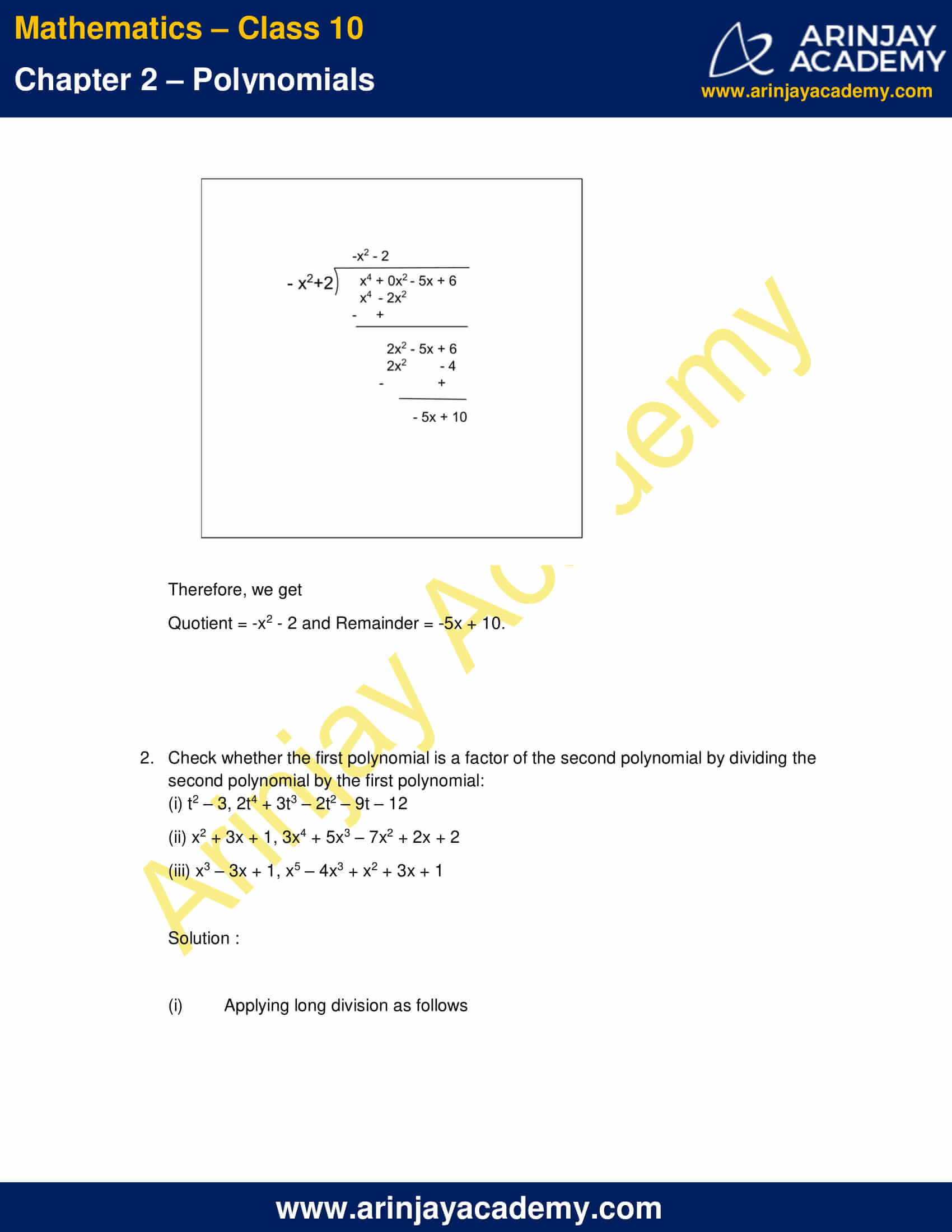 NCERT Solutions For Class 10 Maths Chapter 2 Exercise 2.3 part 3