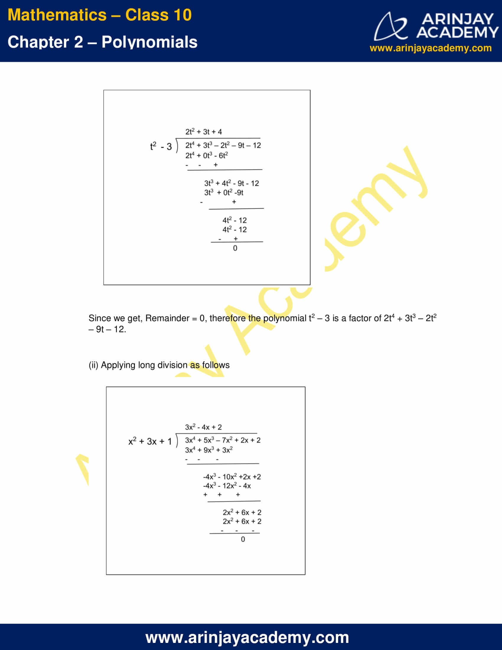 NCERT Solutions For Class 10 Maths Chapter 2 Exercise 2.3 part 4