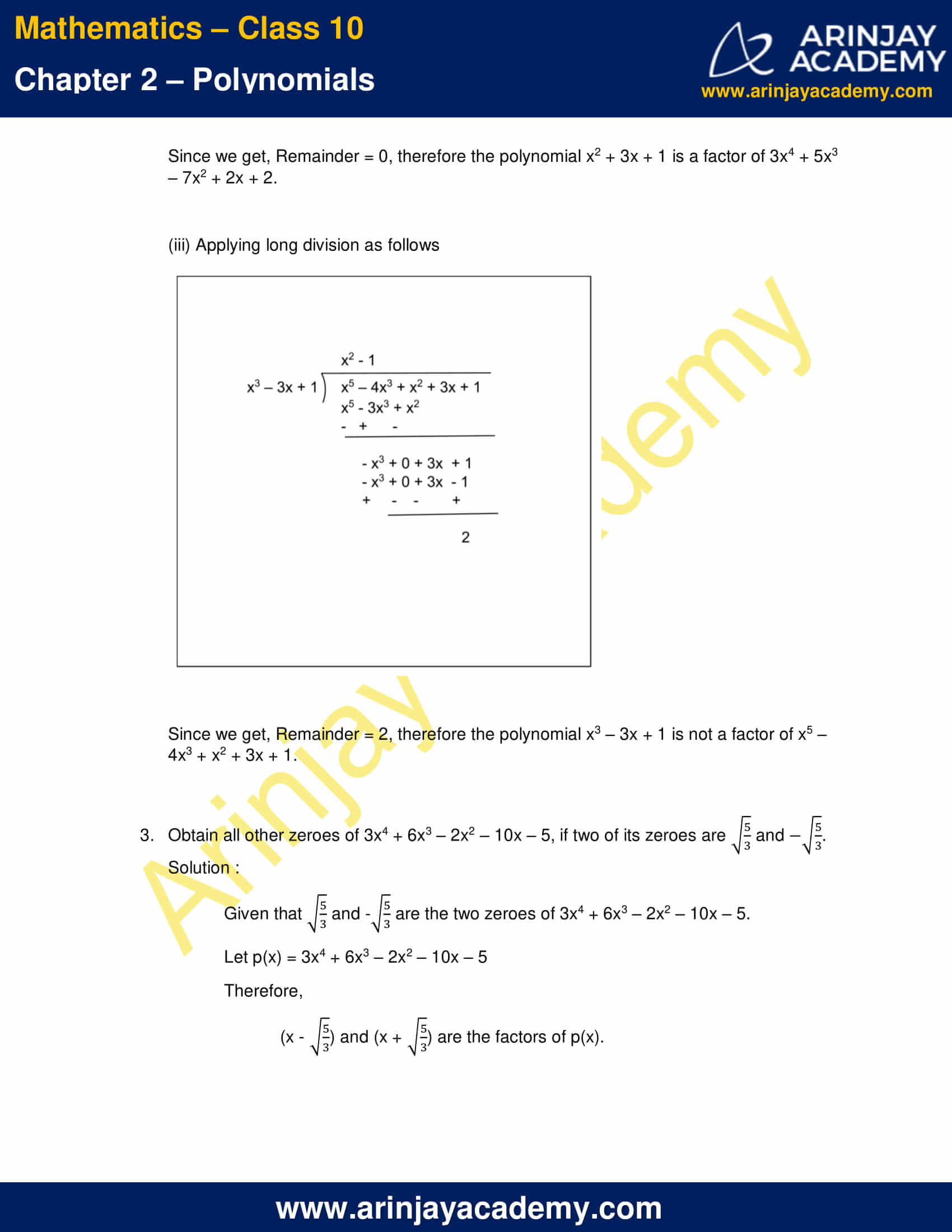 NCERT Solutions For Class 10 Maths Chapter 2 Exercise 2.3 part 5