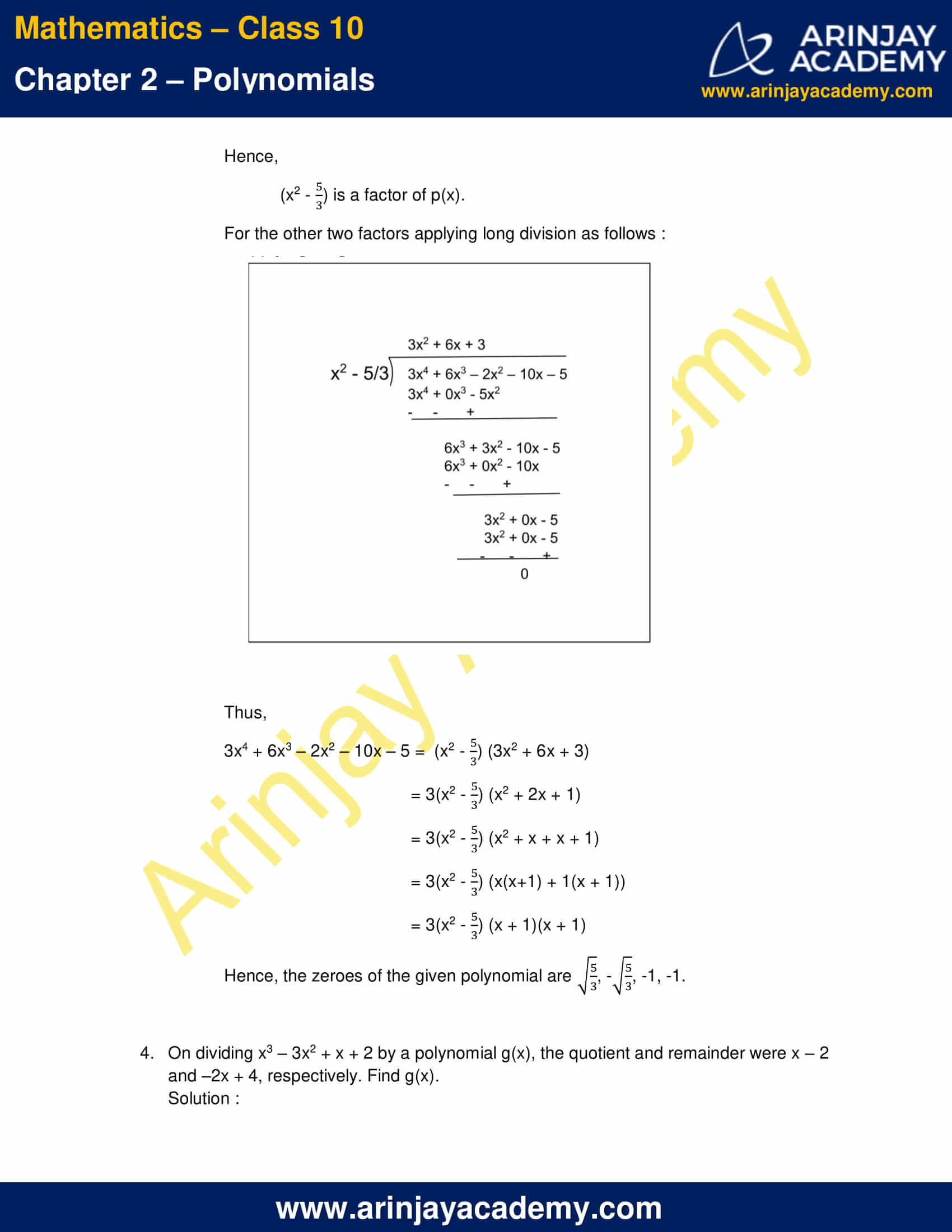 NCERT Solutions For Class 10 Maths Chapter 2 Exercise 2.3 part 6