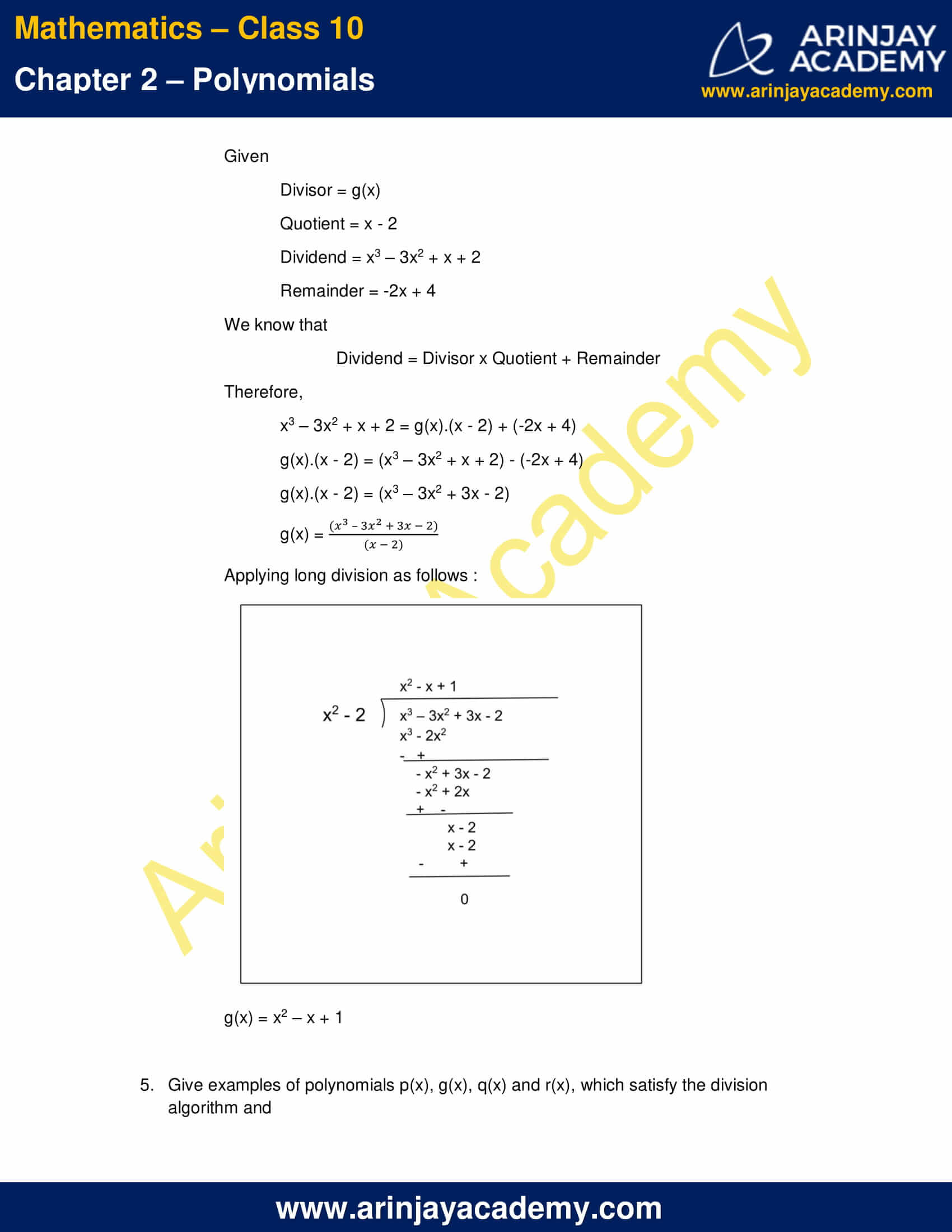 NCERT Solutions For Class 10 Maths Chapter 2 Exercise 2.3 part 7
