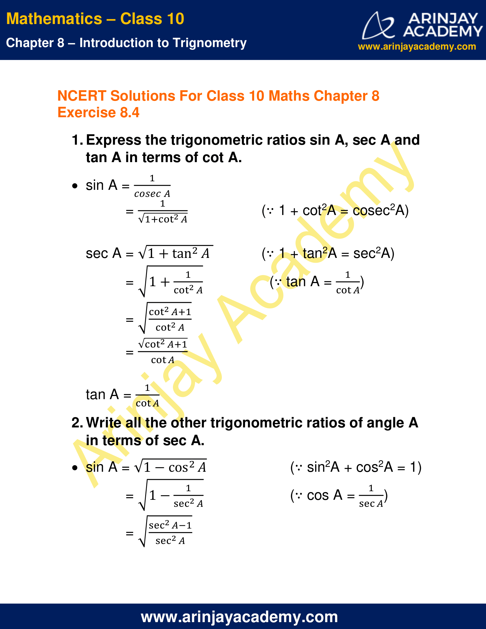 NCERT Solutions For Class 10 Maths Chapter 8 Exercise 8.4 image 1