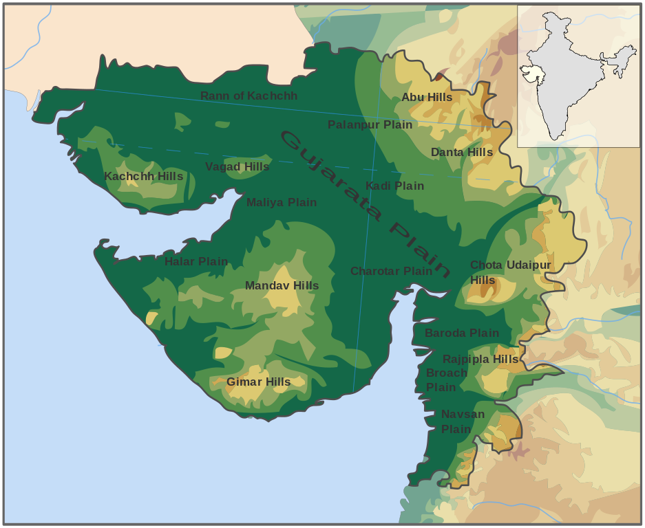Map Showing the Physical Aspects of Gujarat