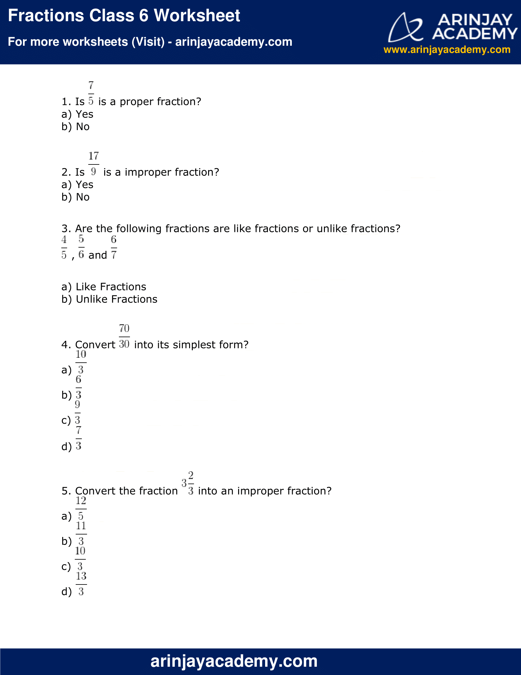 Fractions Class 6 Worksheet image 1