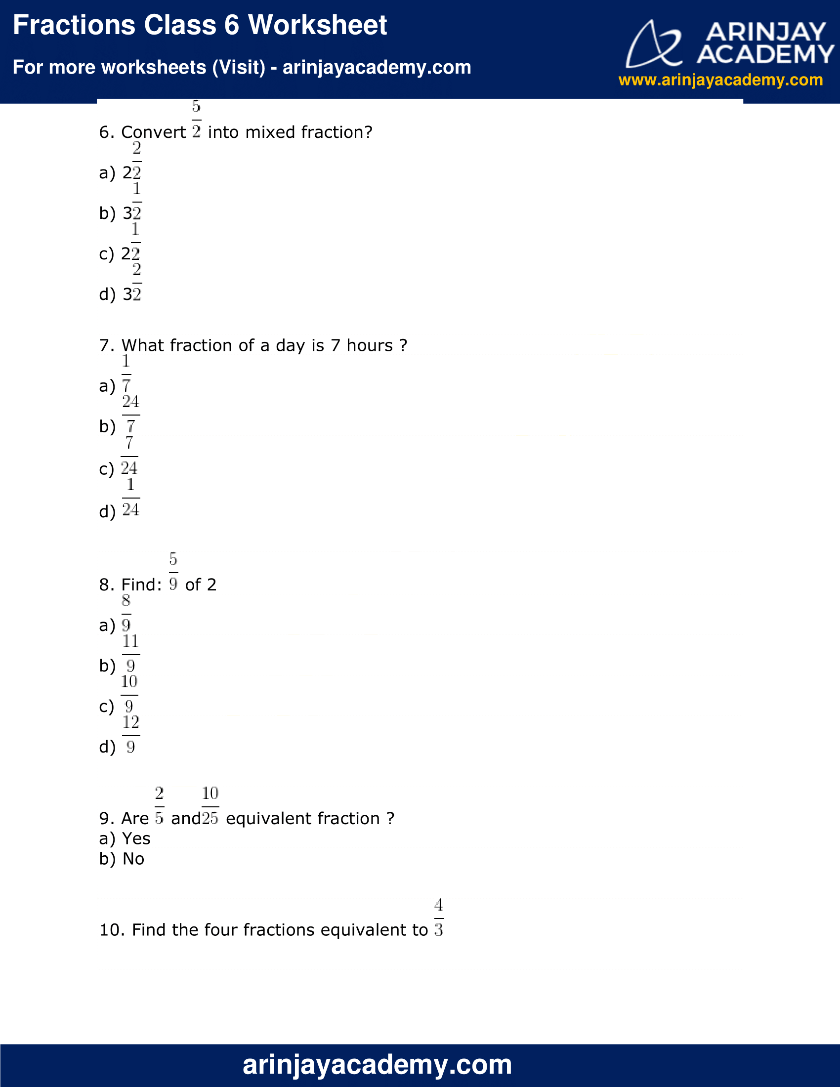 Fractions Class 6 Worksheet image 2