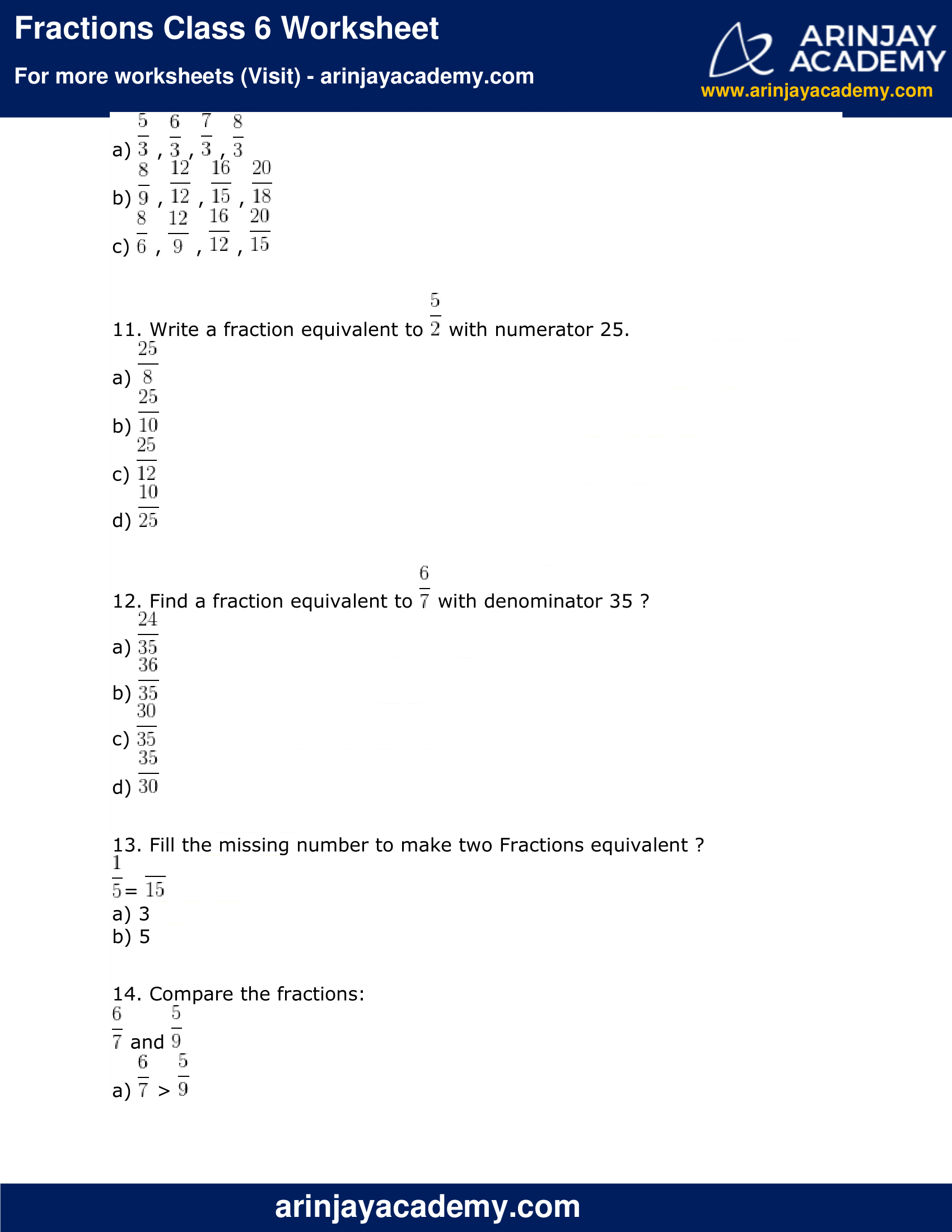Fractions Class 6 Worksheet image 3