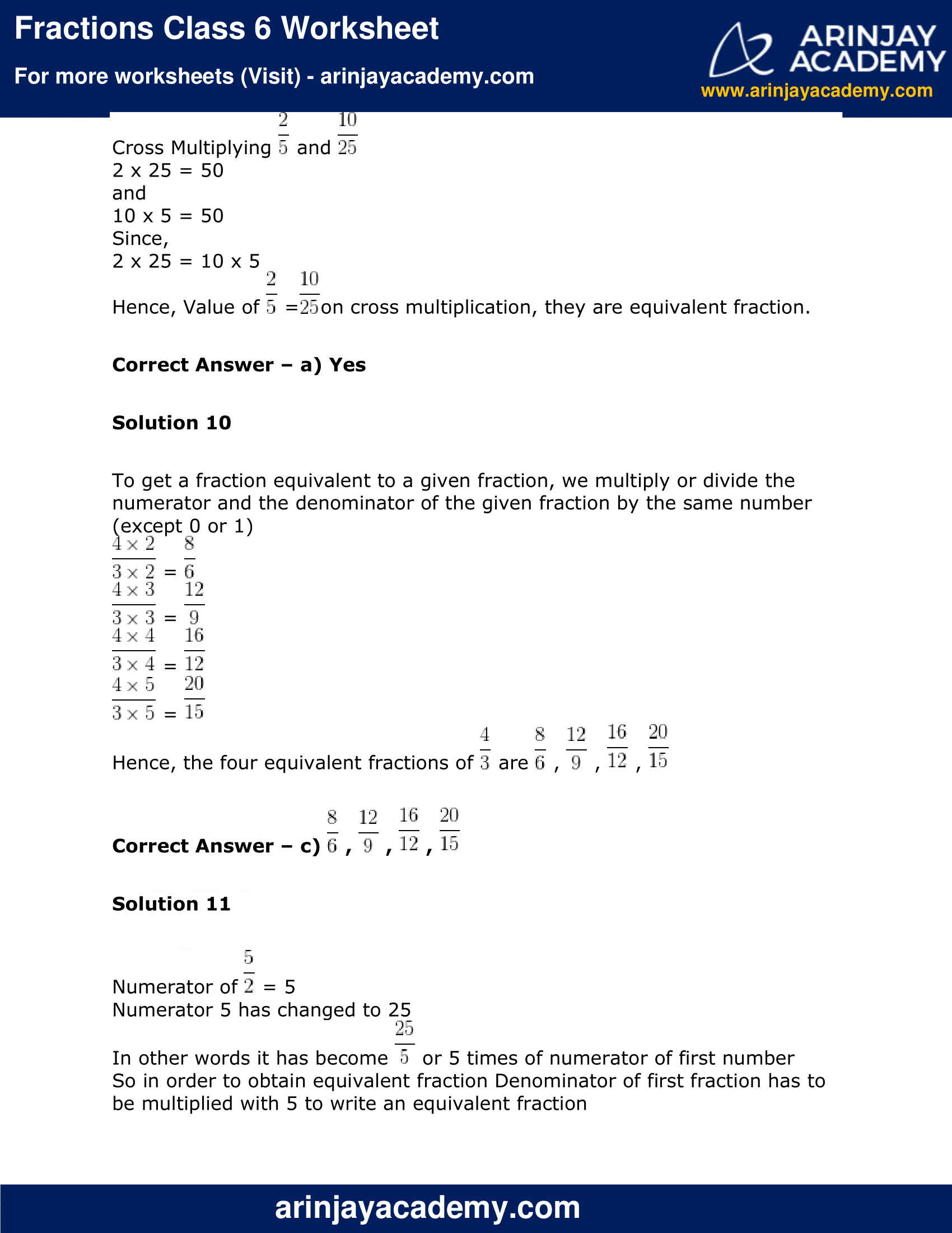 Fractions Class 6 Worksheet image 9