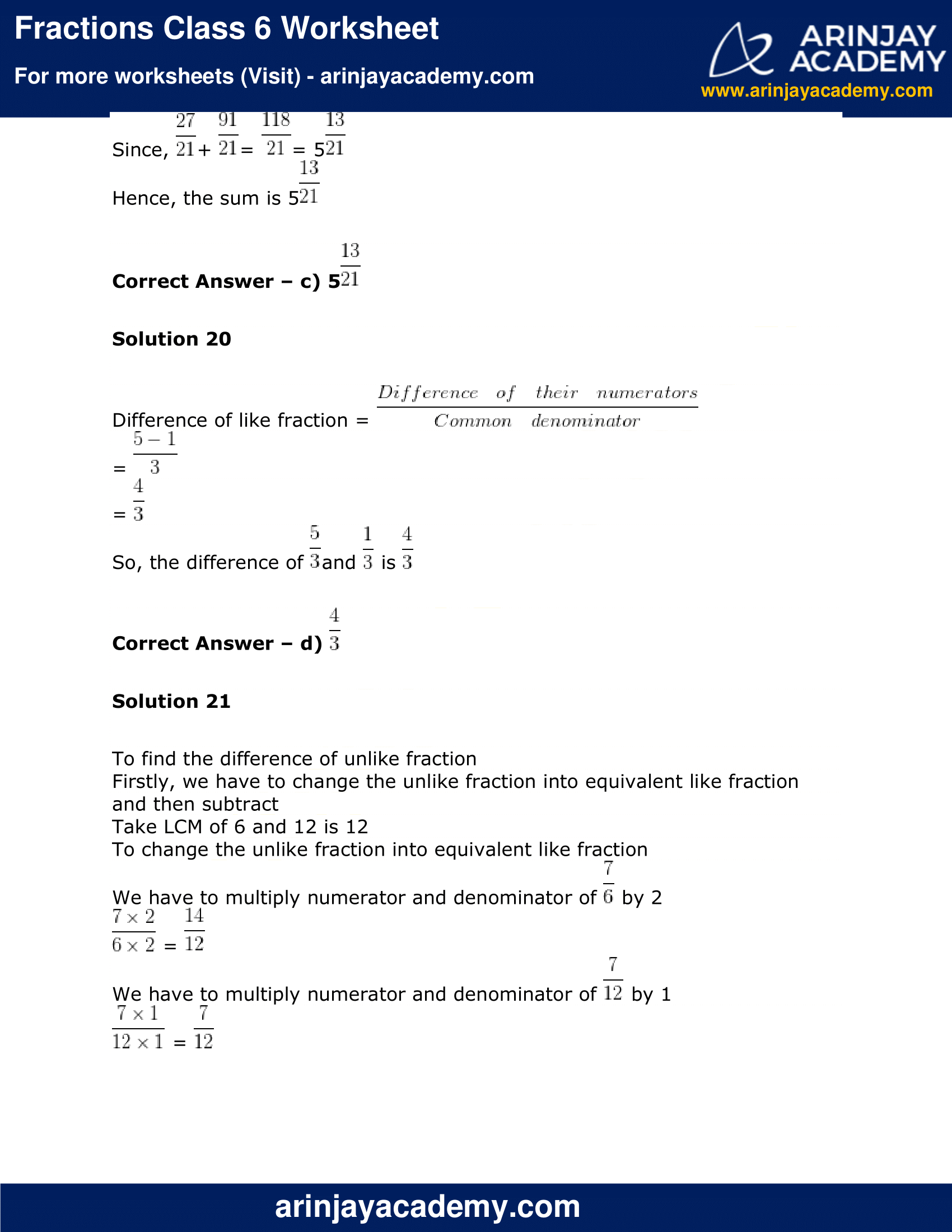 Fractions Class 6 Worksheet image 14