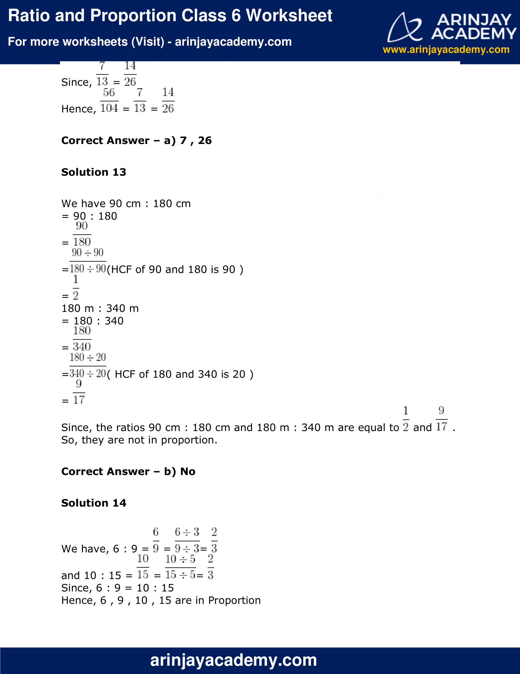 Ratio and Proportion Class 6 Worksheet image 10