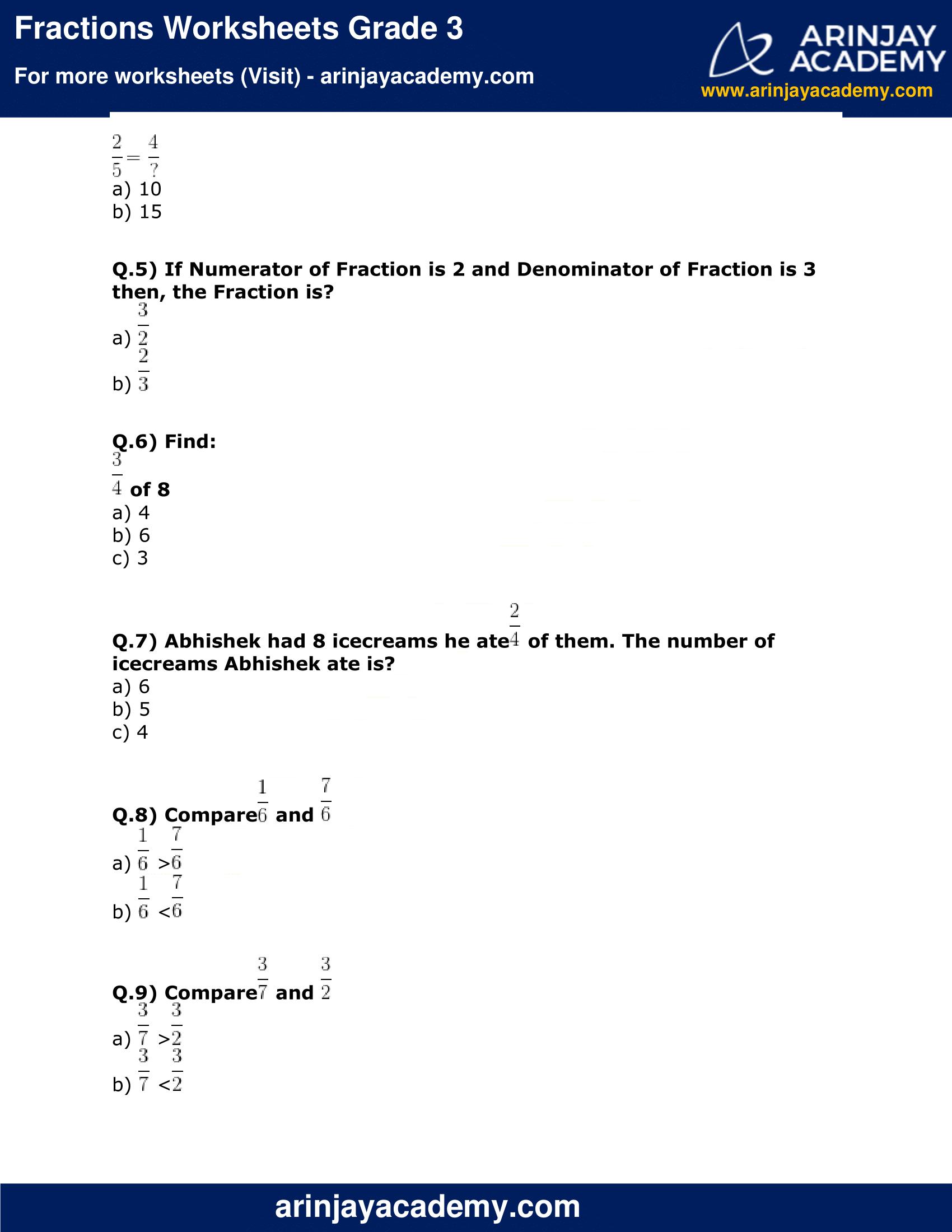 Fractions Worksheets Grade 3 image 2