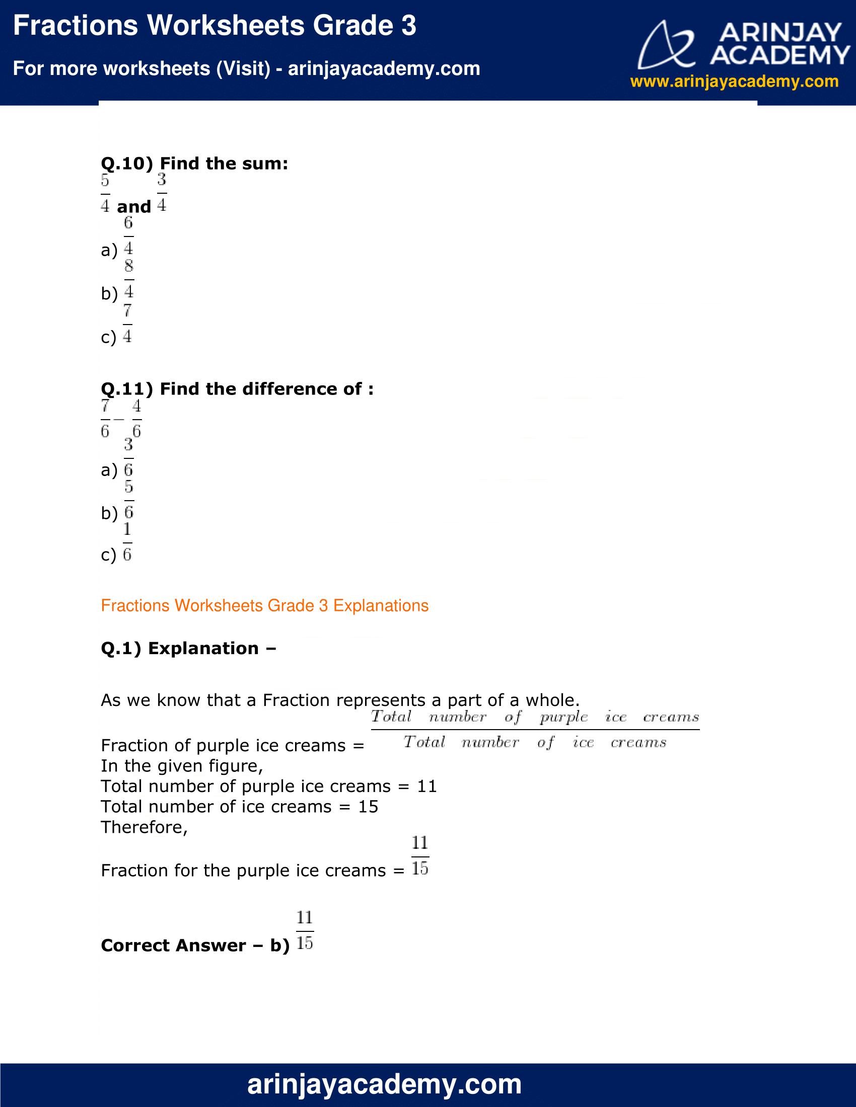 Fractions Worksheets Grade 3 image 3