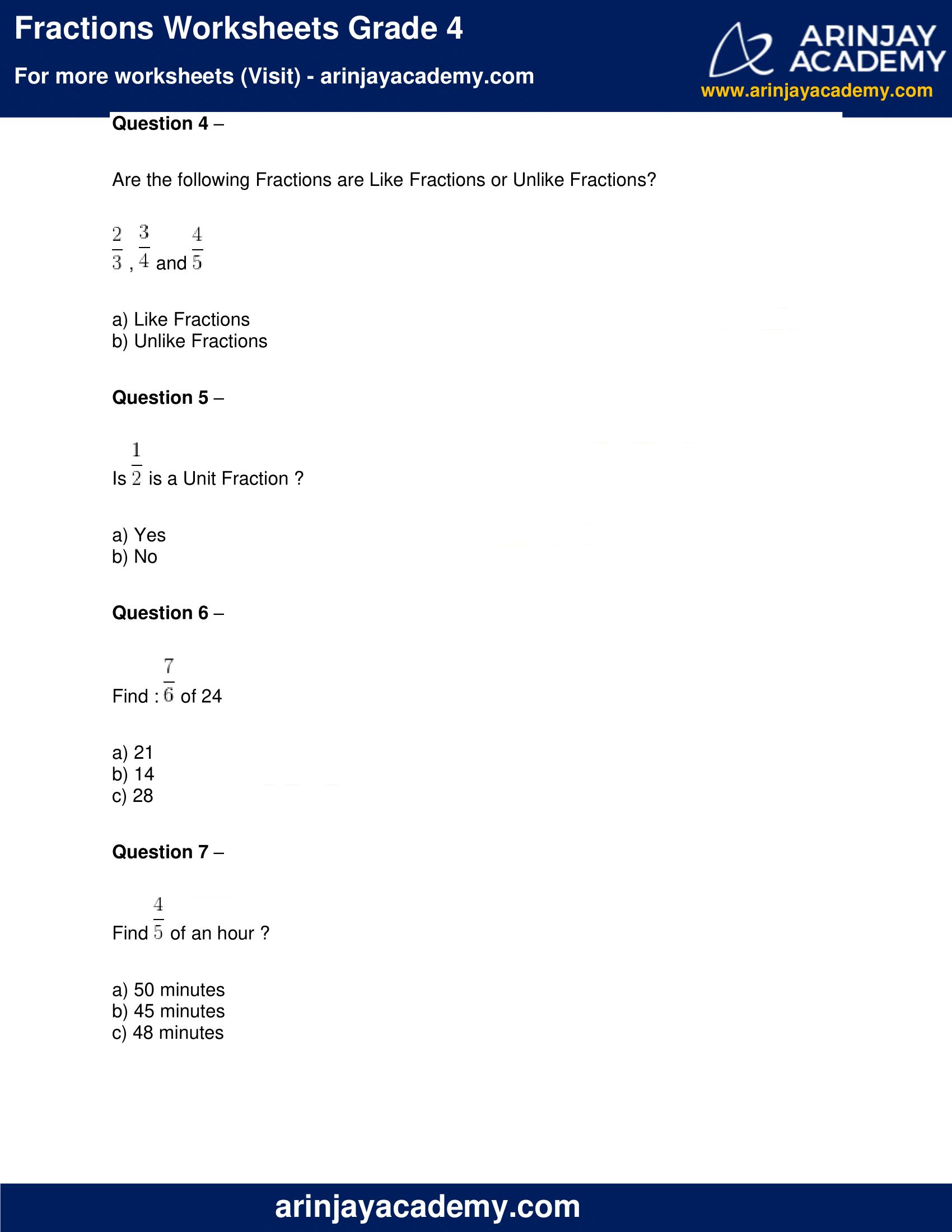 Fractions Worksheets Grade 4 image 2