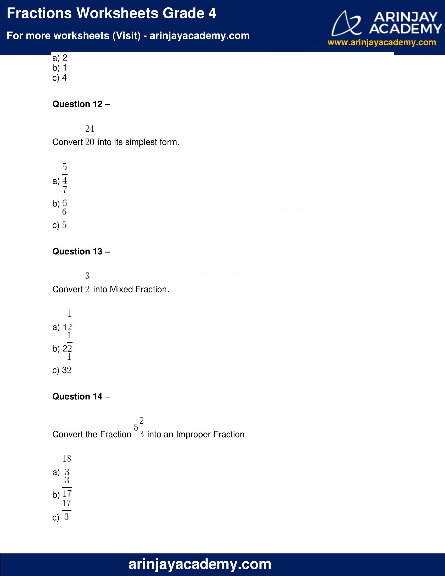 Fractions Worksheets Grade 4 image 4