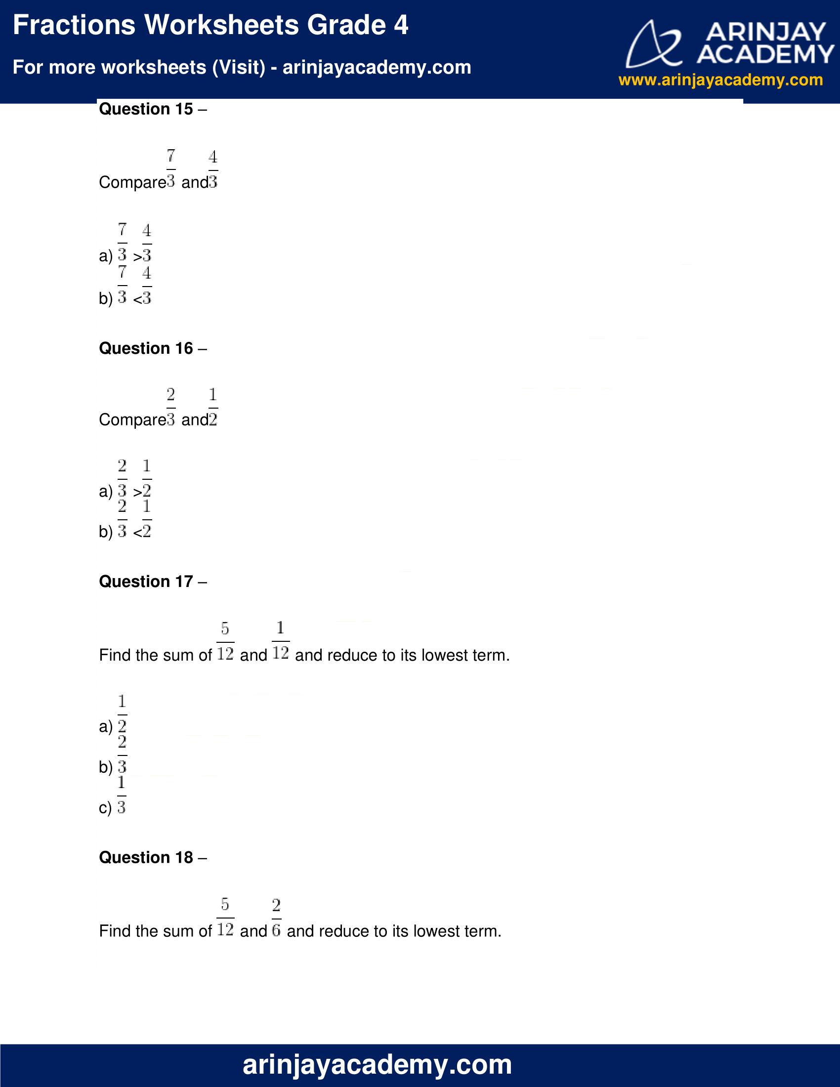 Fractions Worksheets Grade 4 image 5