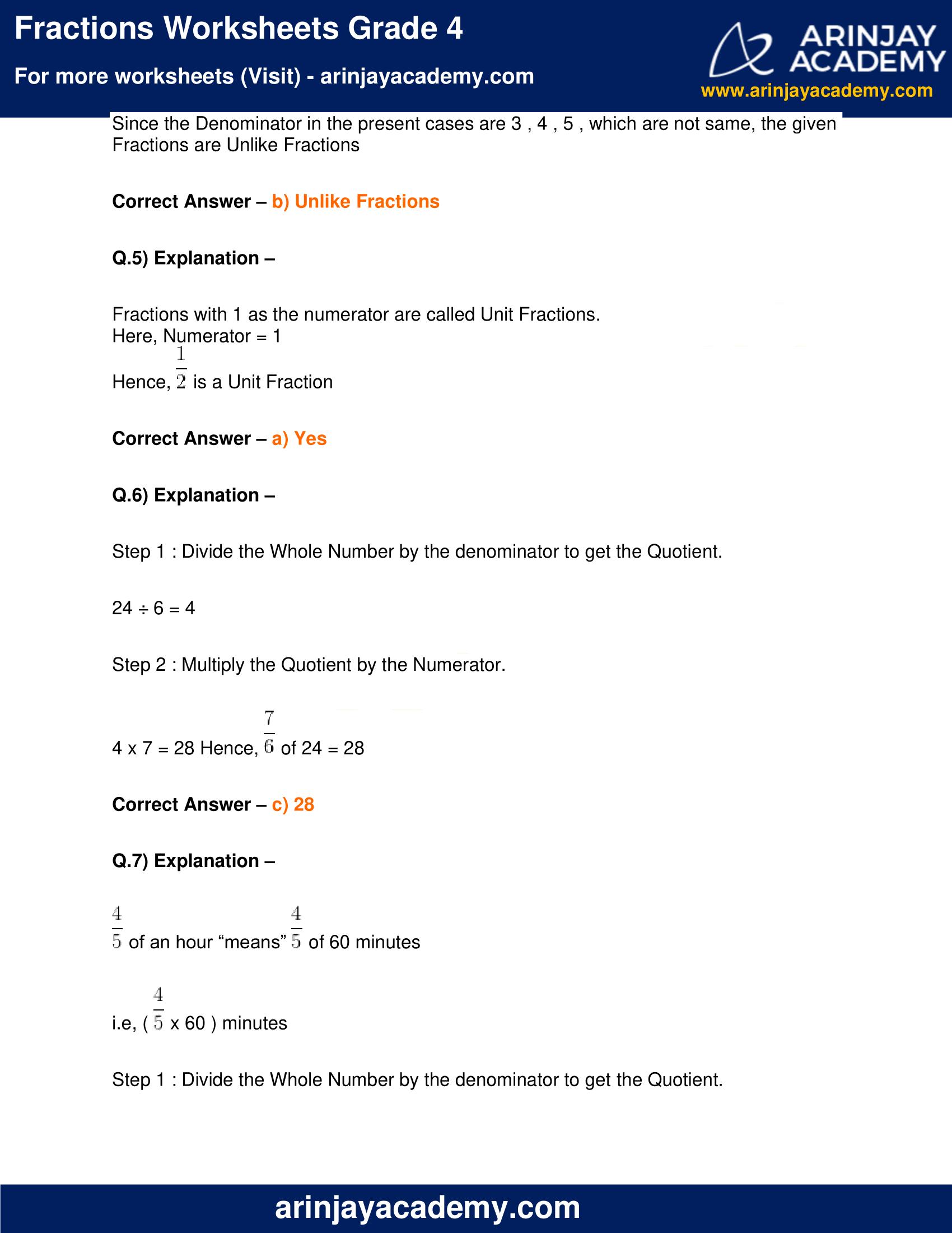 Fractions Worksheets Grade 4 image 8