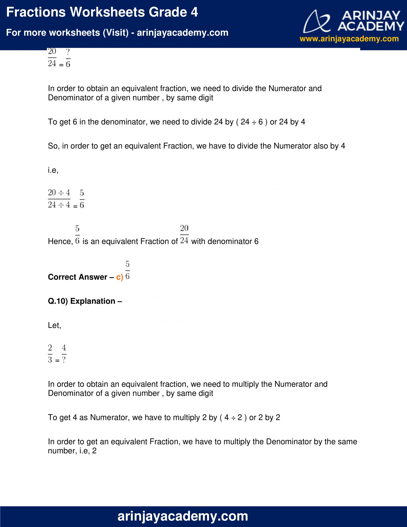Fractions Worksheets Grade 4 image 10