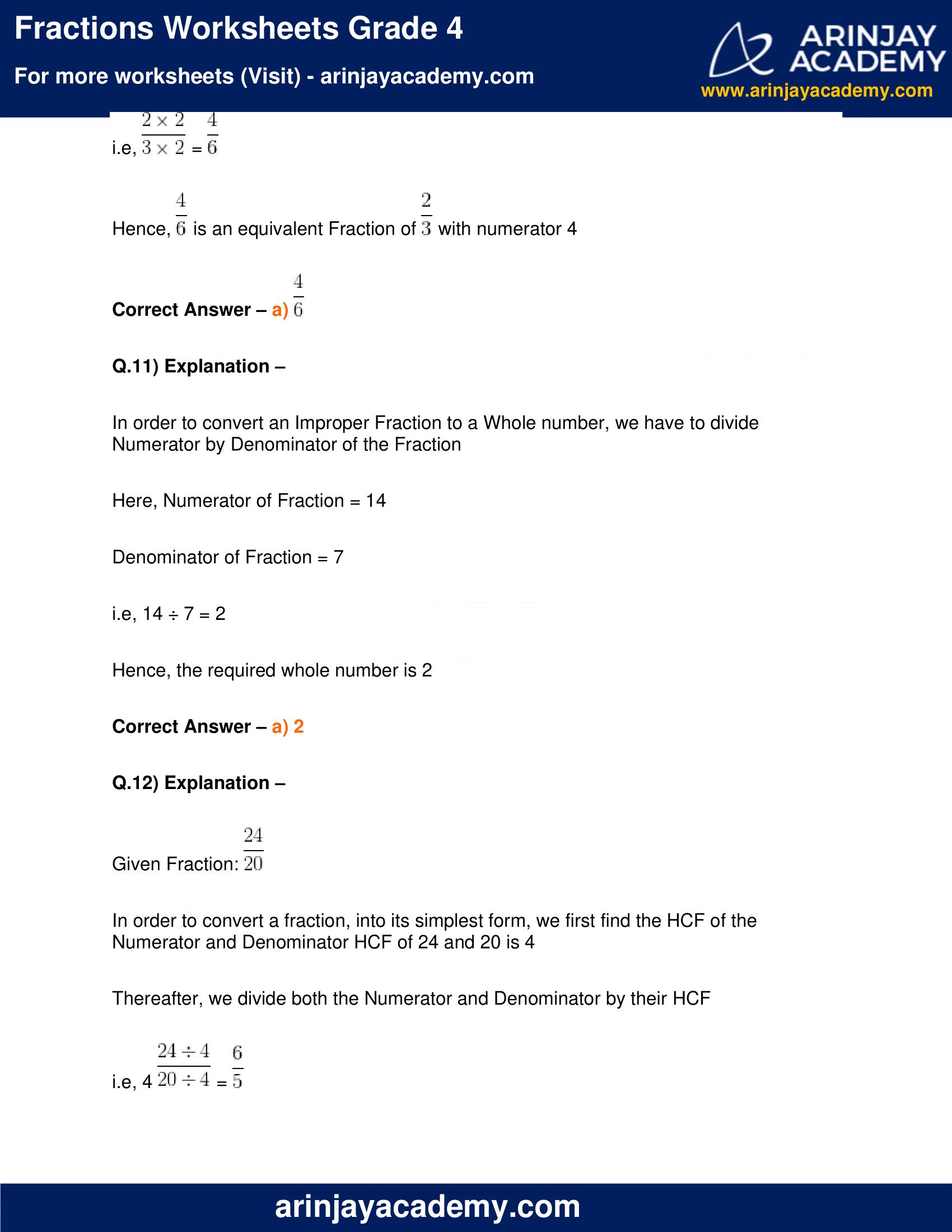 Fractions Worksheets Grade 4 image 11