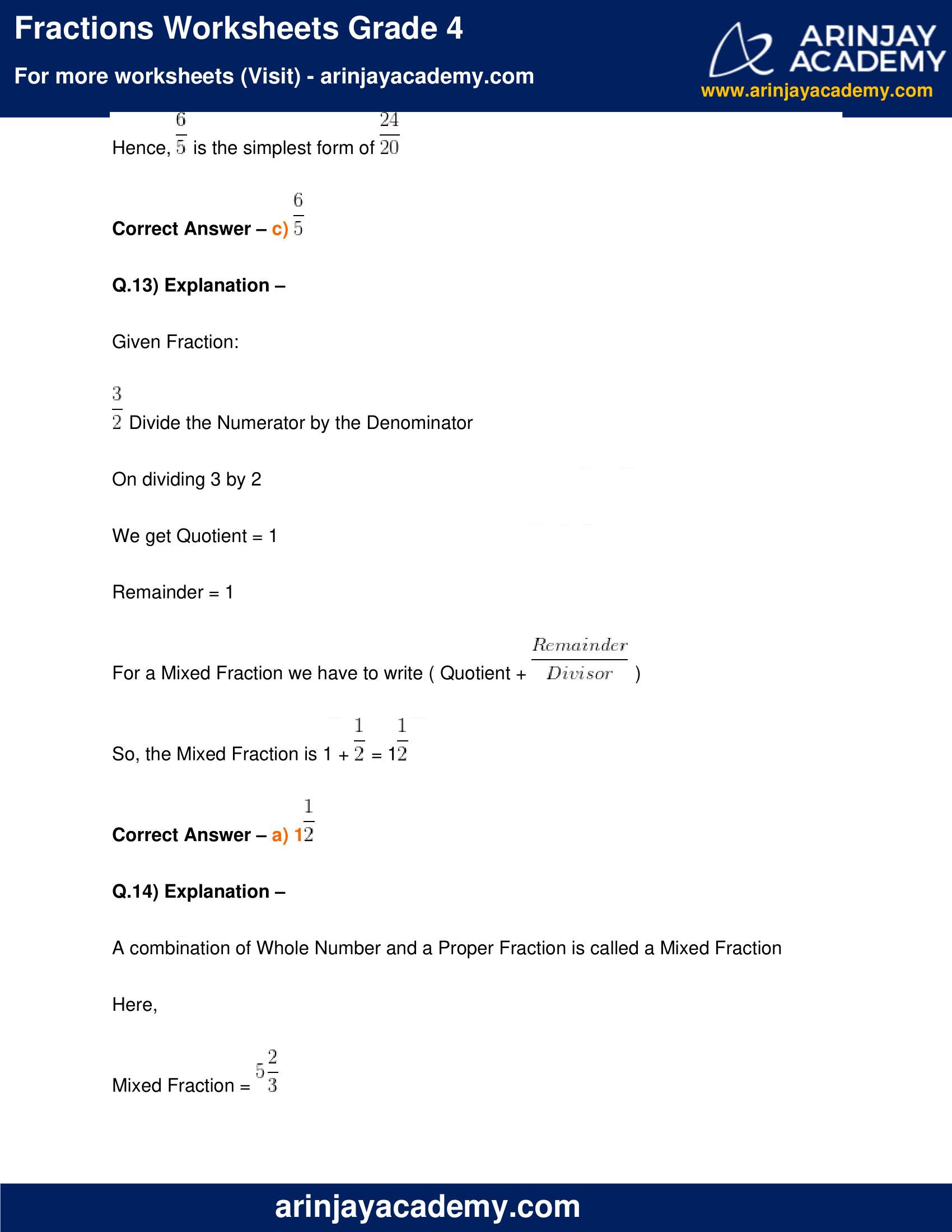 Fractions Worksheets Grade 4 image 12