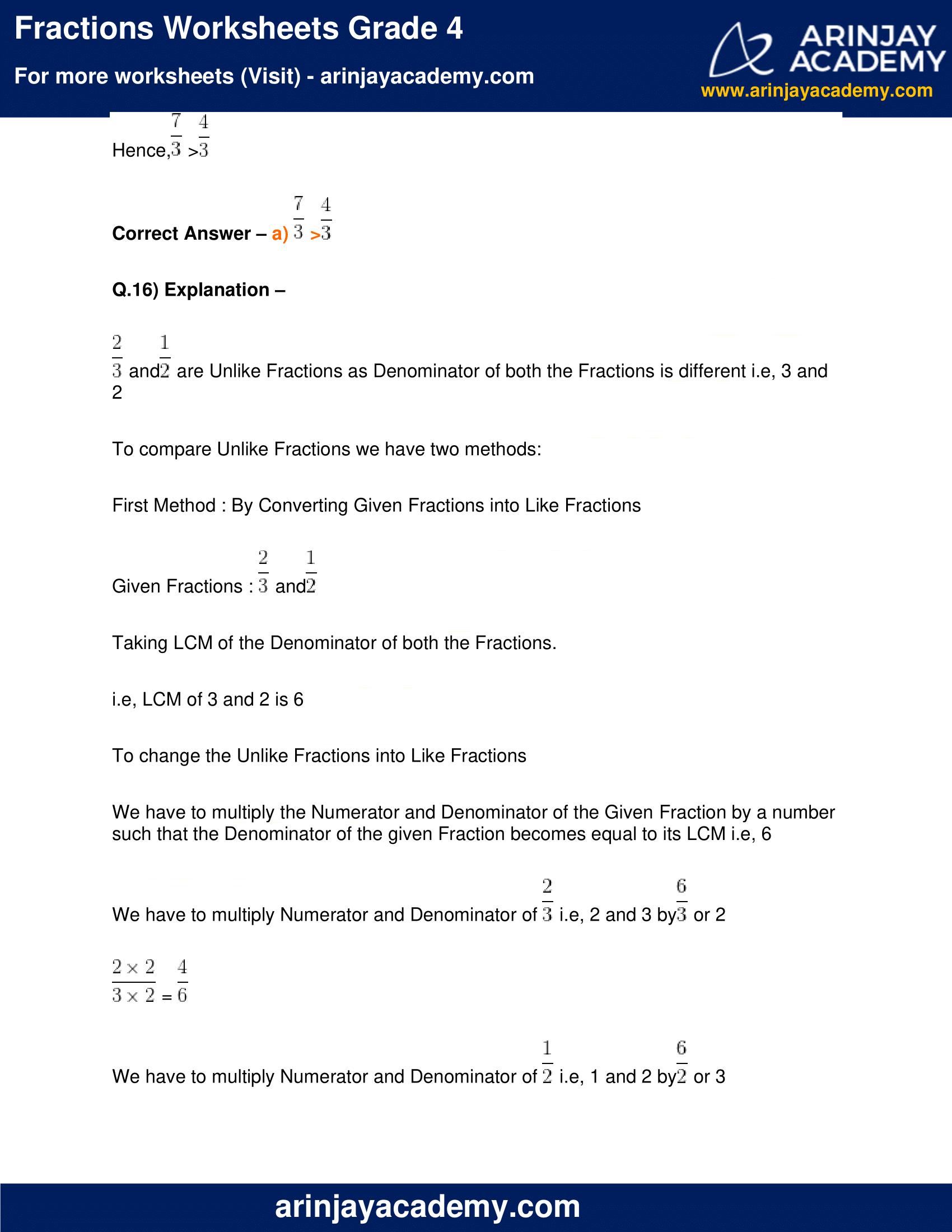 Fractions Worksheets Grade 4 image 14
