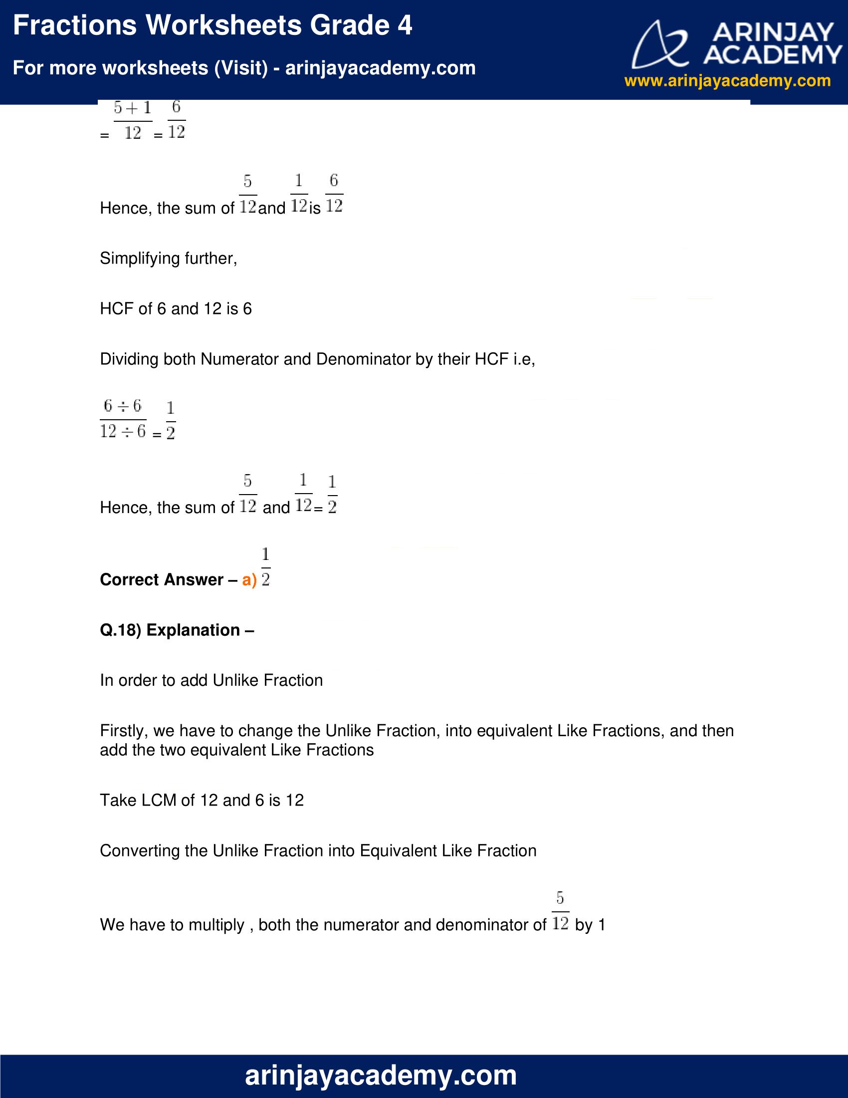 Fractions Worksheets Grade 4 image 16