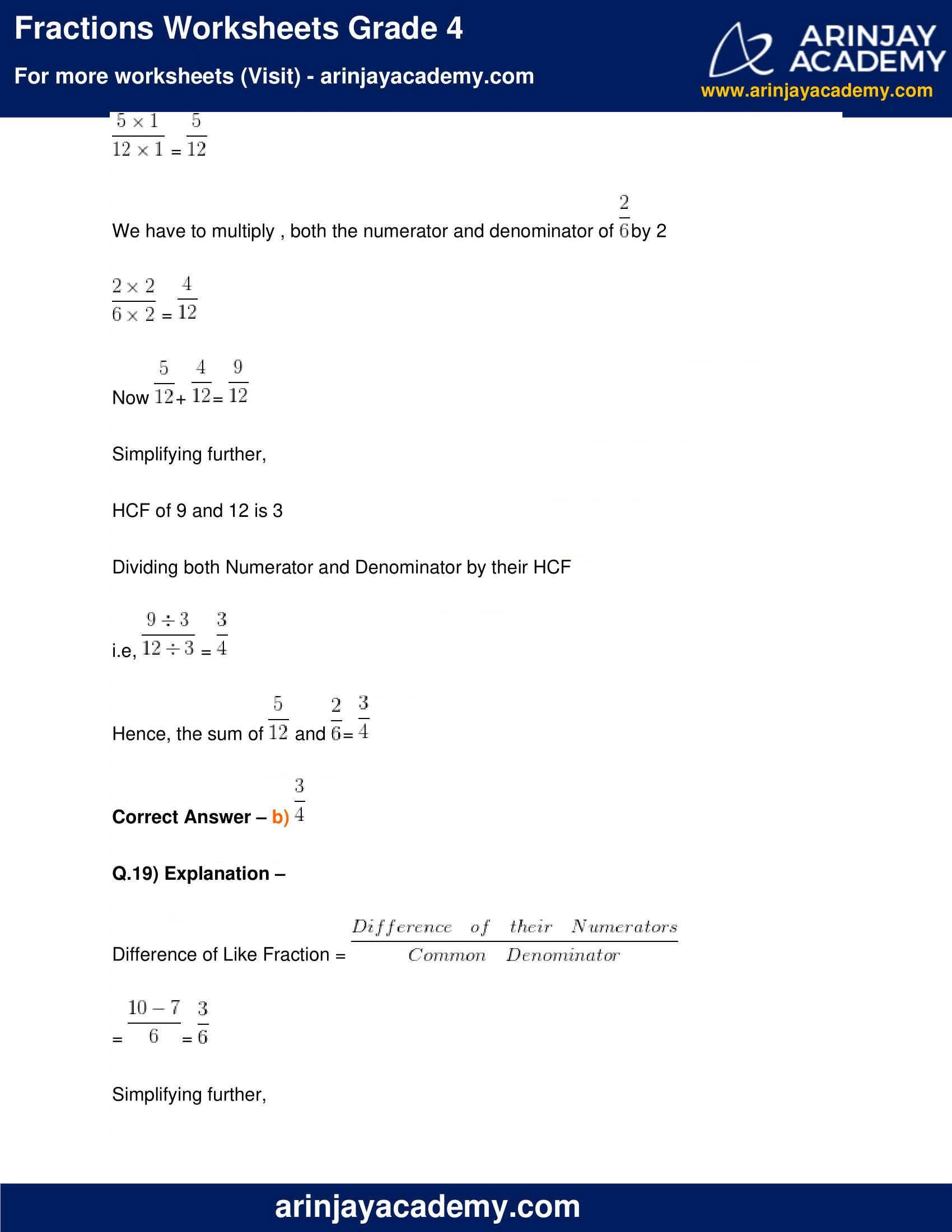 Fractions Worksheets Grade 4 image 17