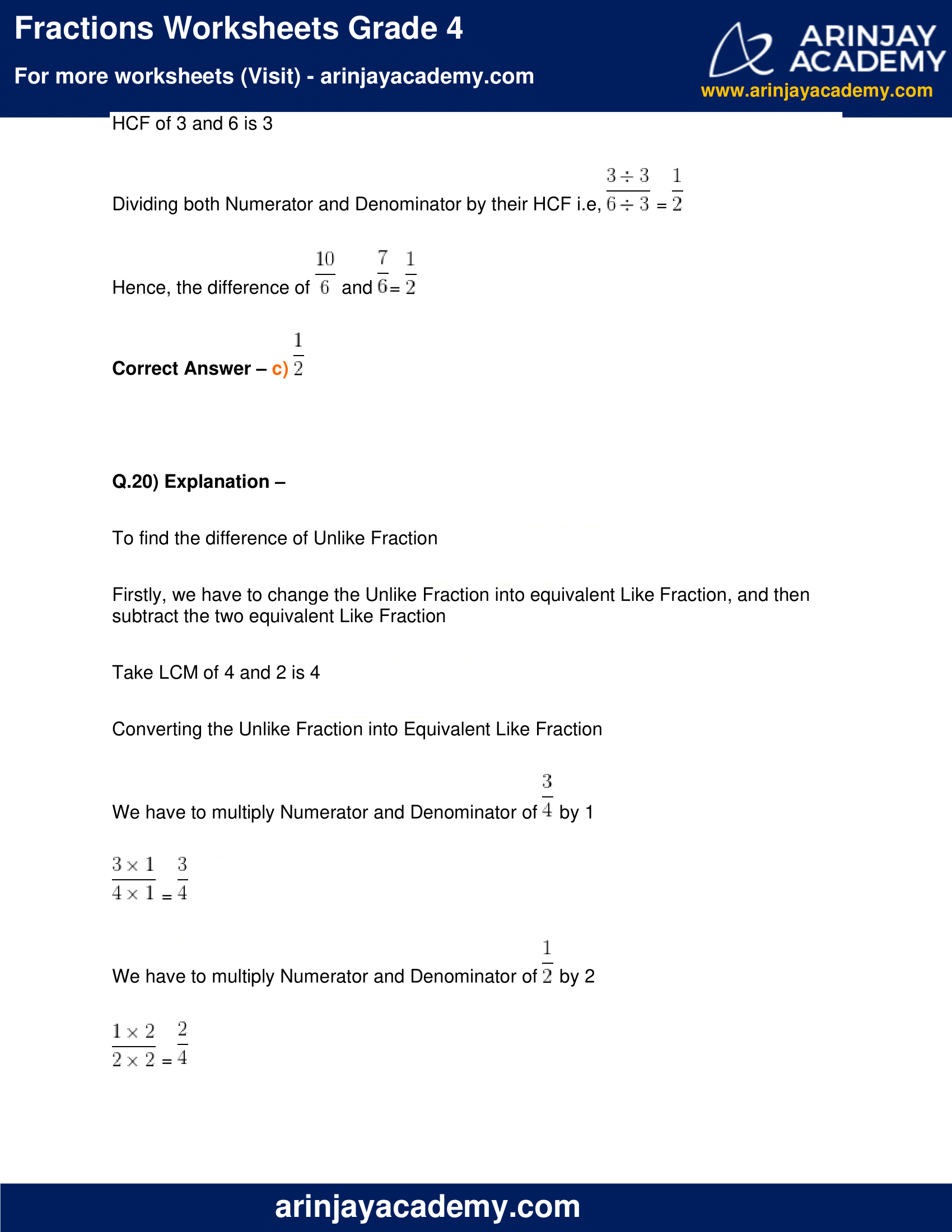 Fractions Worksheets Grade 4 image 18