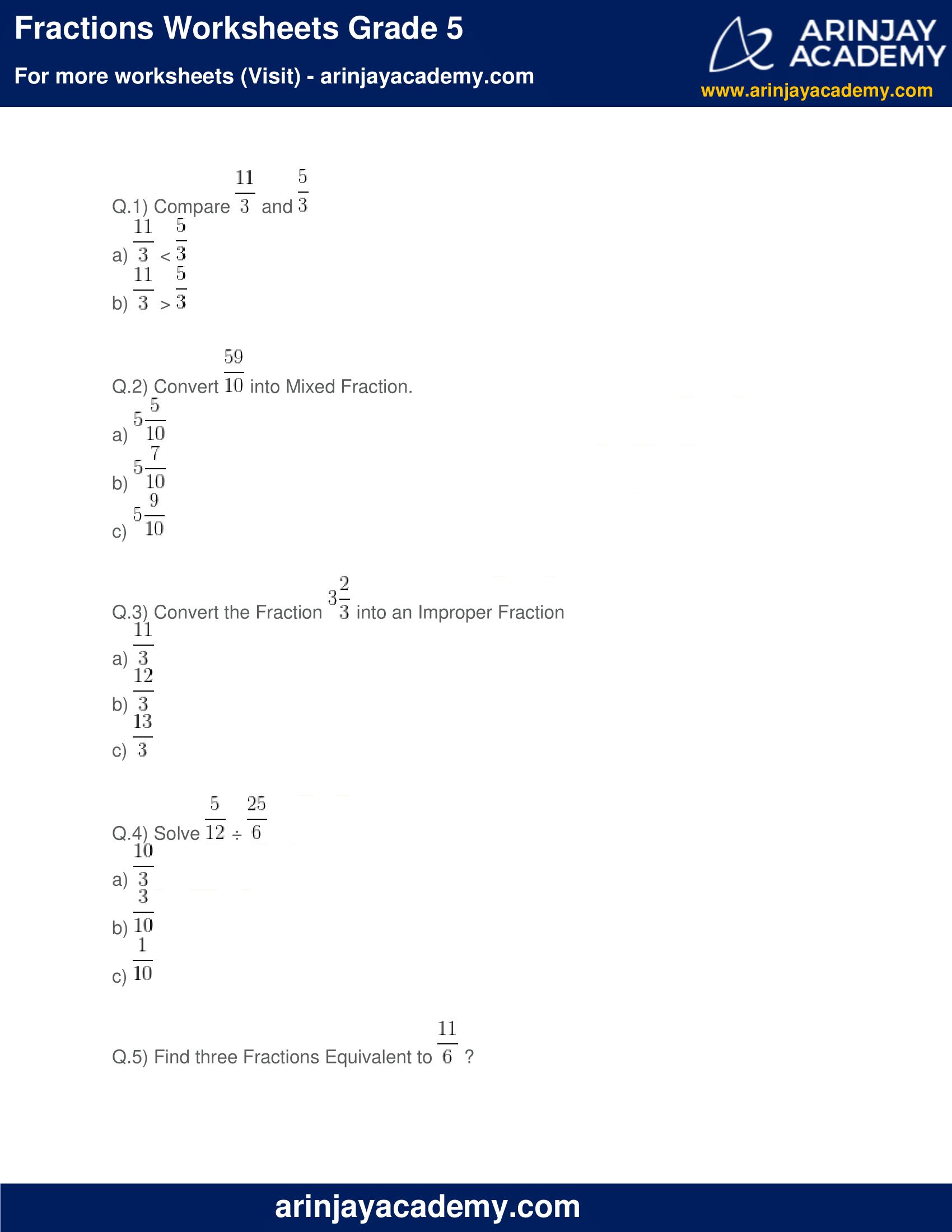 Fractions Worksheets Grade 5 image 1
