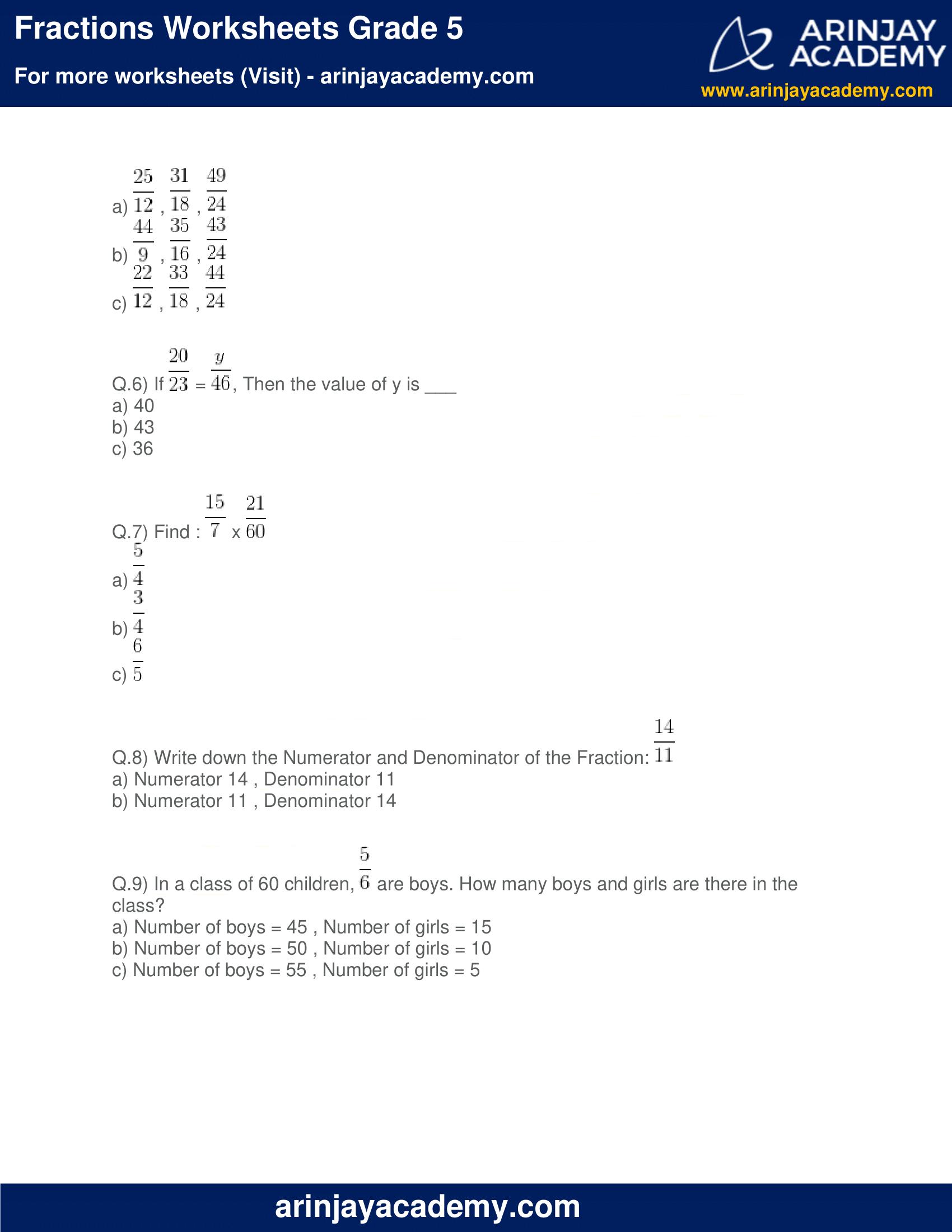 Fractions Worksheets Grade 5 image 2