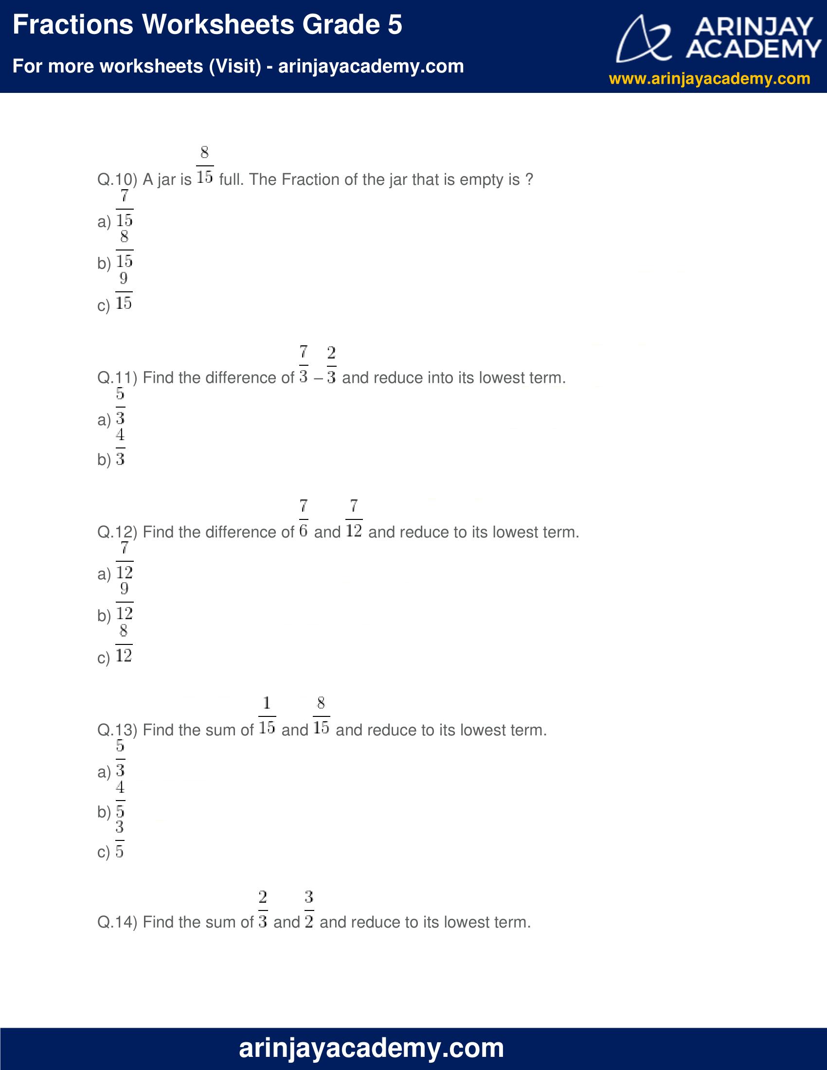 Fractions Worksheets Grade 5 image 3