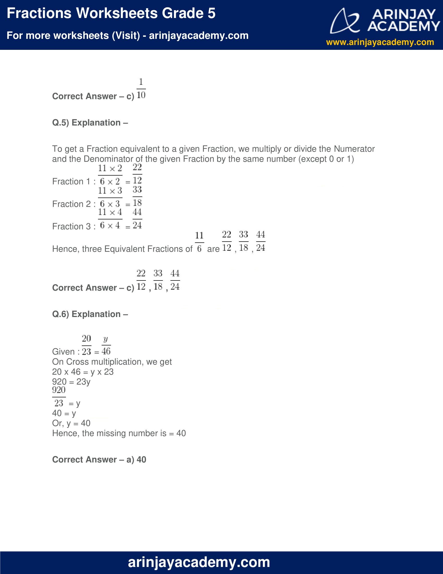 Fractions Worksheets Grade 5 image 6
