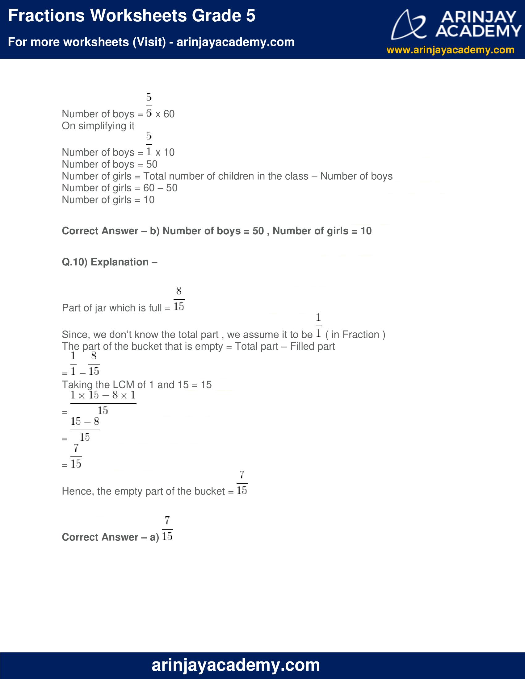 Fractions Worksheets Grade 5 image 8