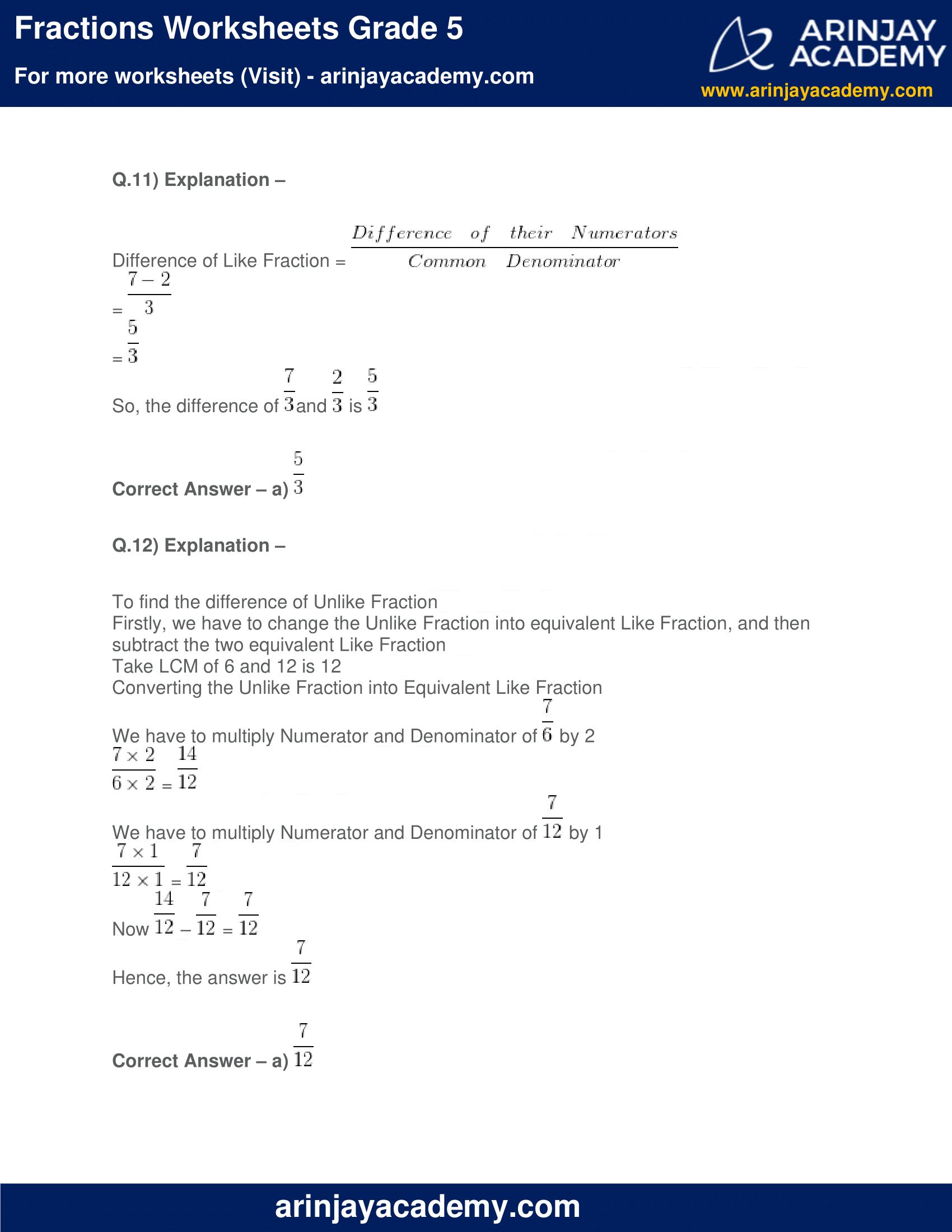 Fractions Worksheets Grade 5 image 9