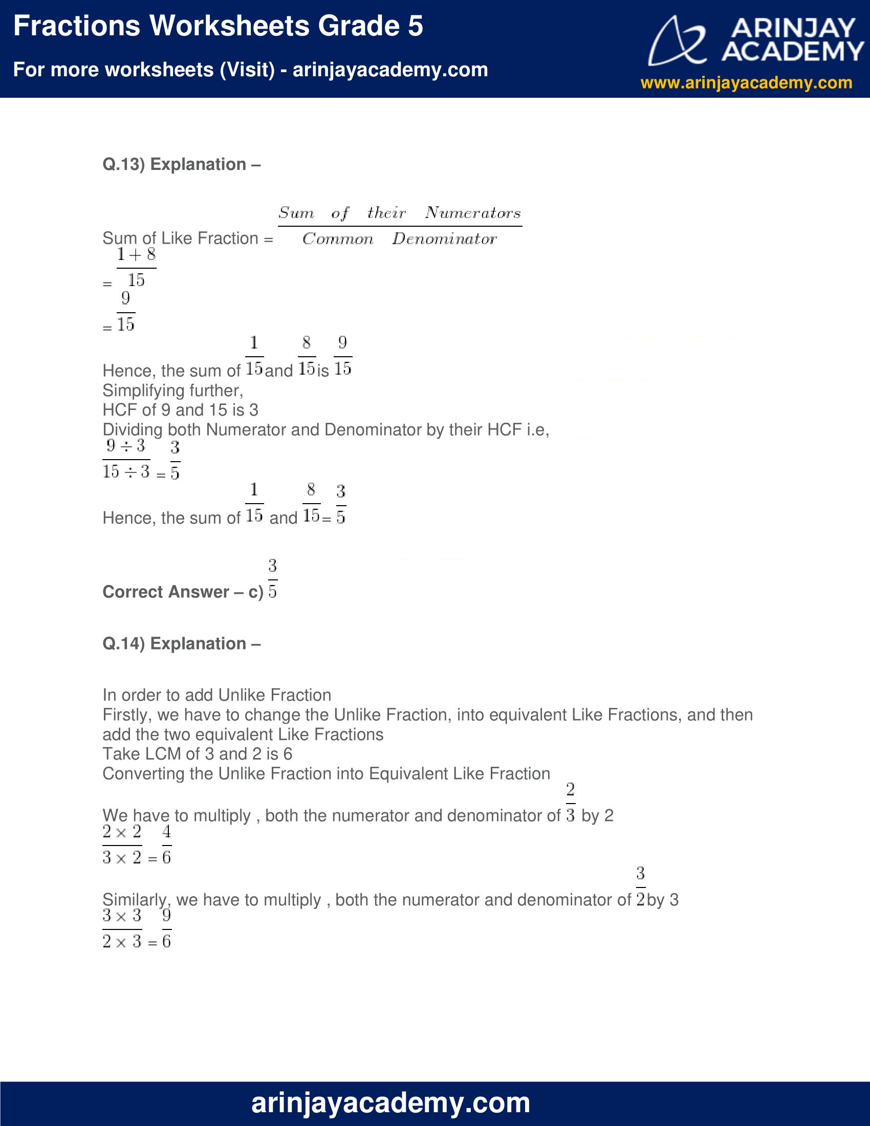 Fractions Worksheets Grade 5 image 10