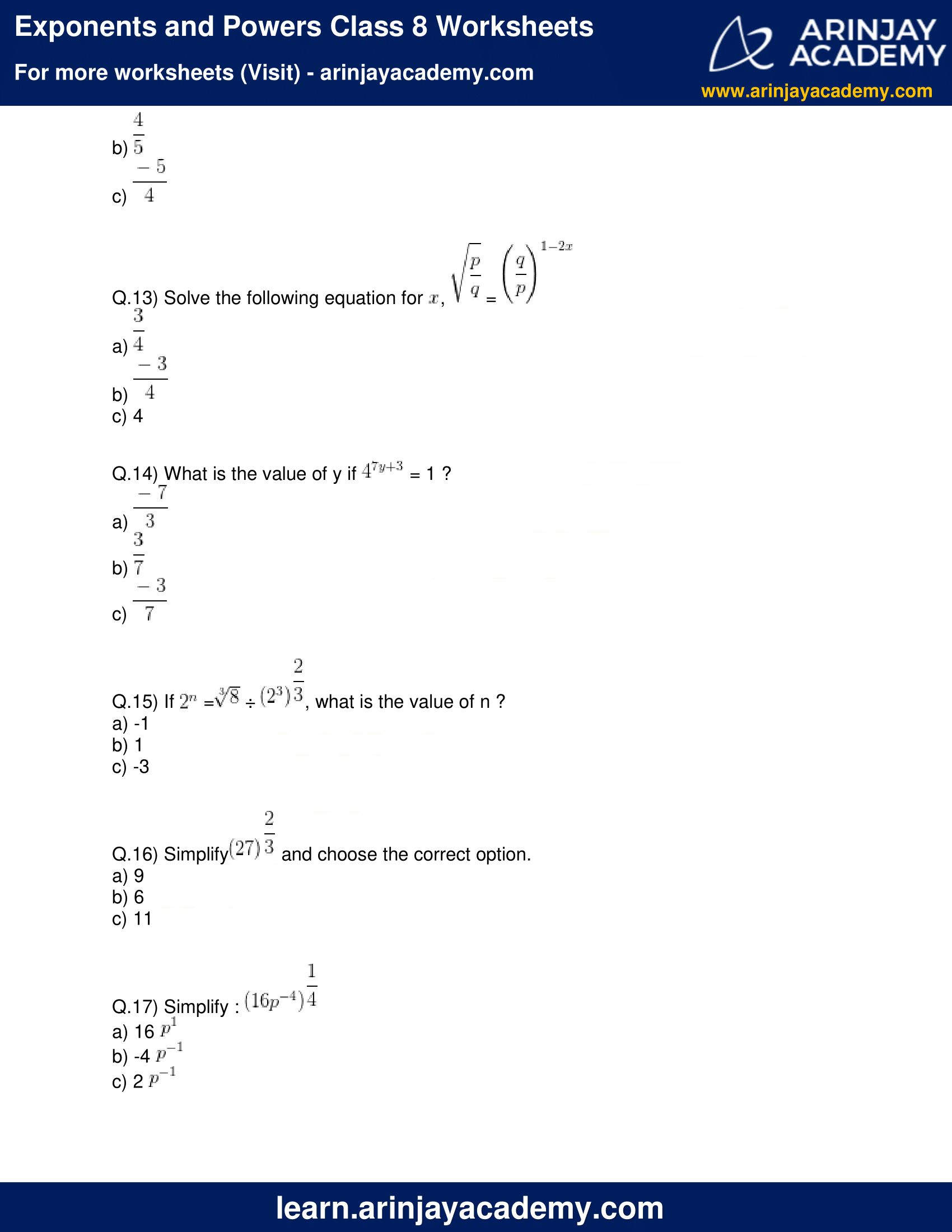 Exponents and Powers Class 8 Worksheets image 3