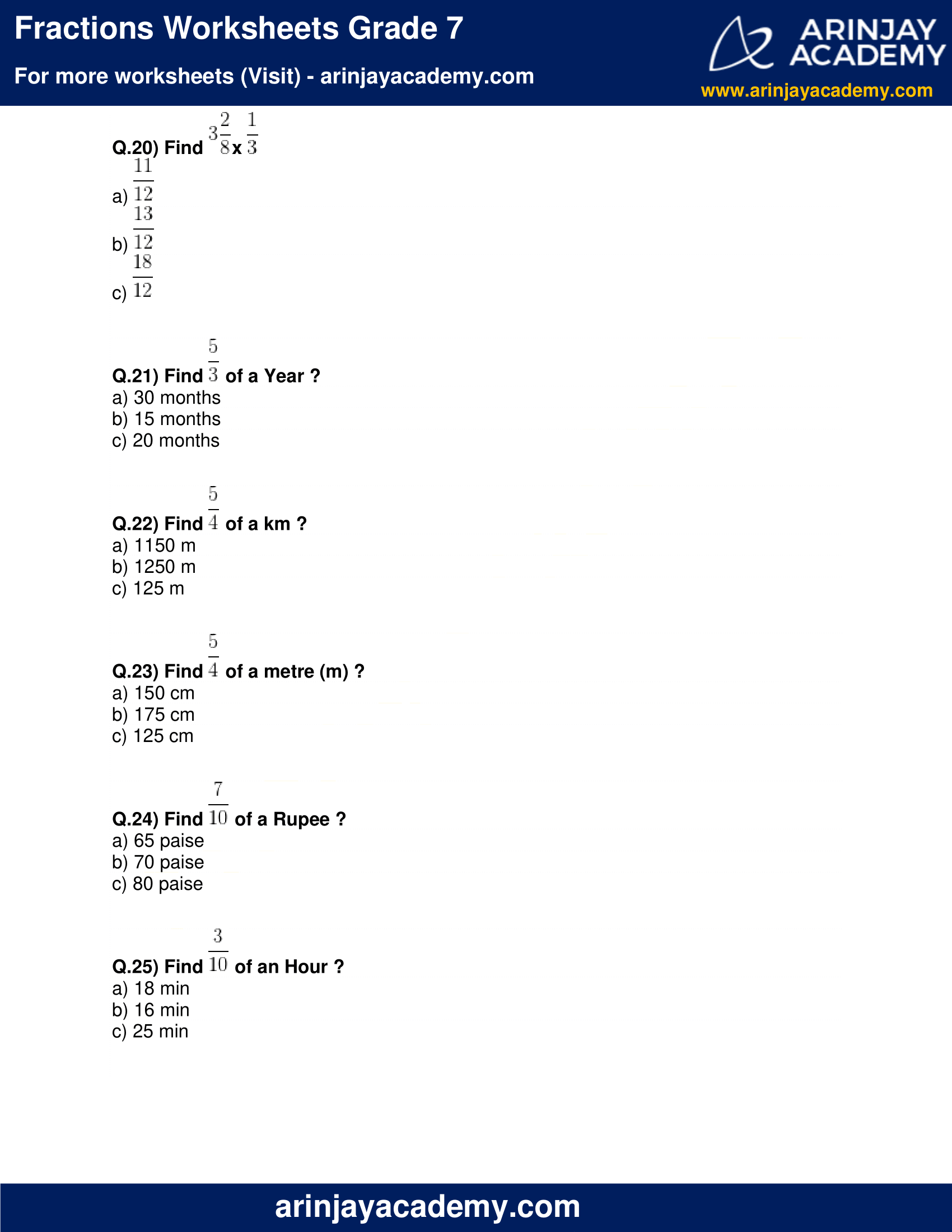 Fractions Worksheets Grade 7 image 5