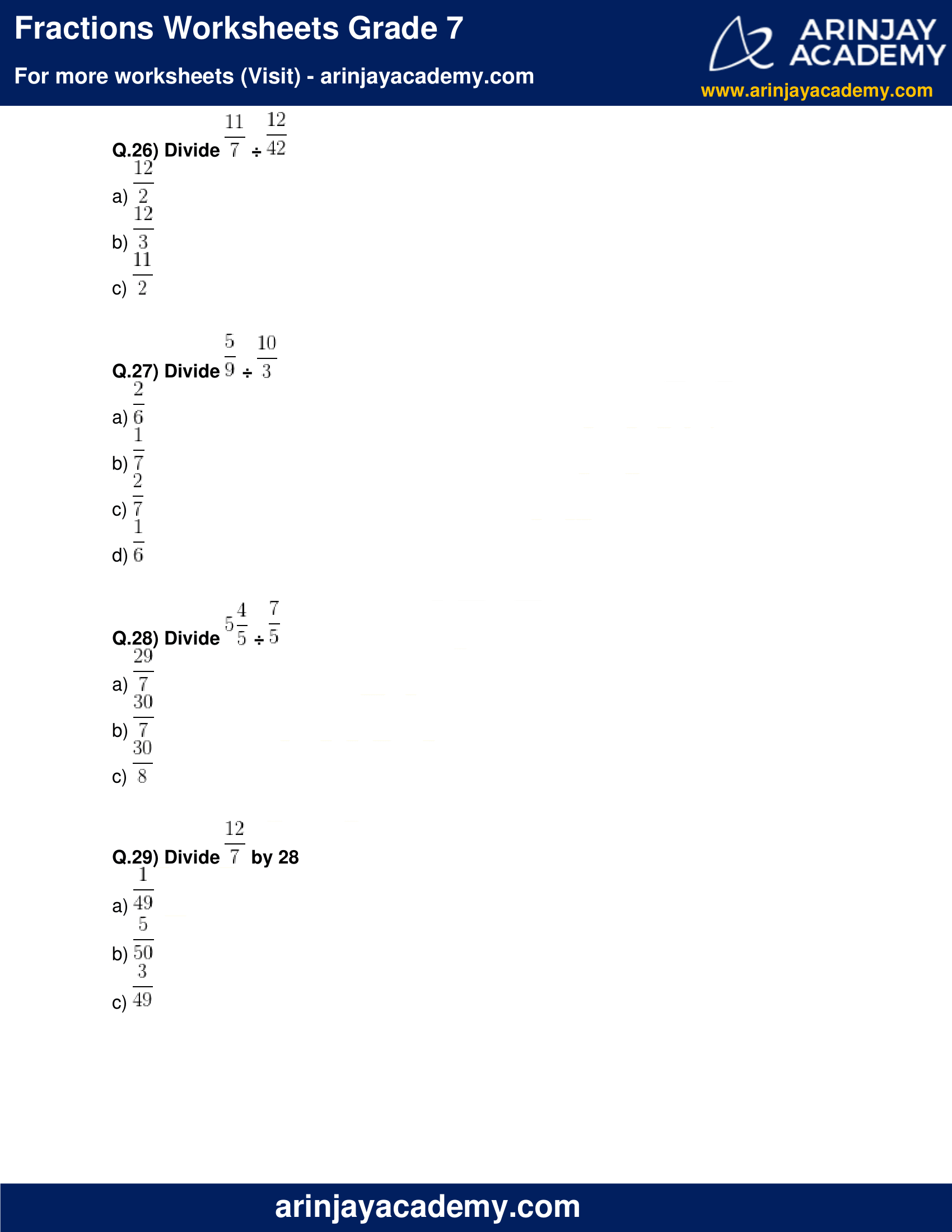 Fractions Worksheets Grade 7 image 6