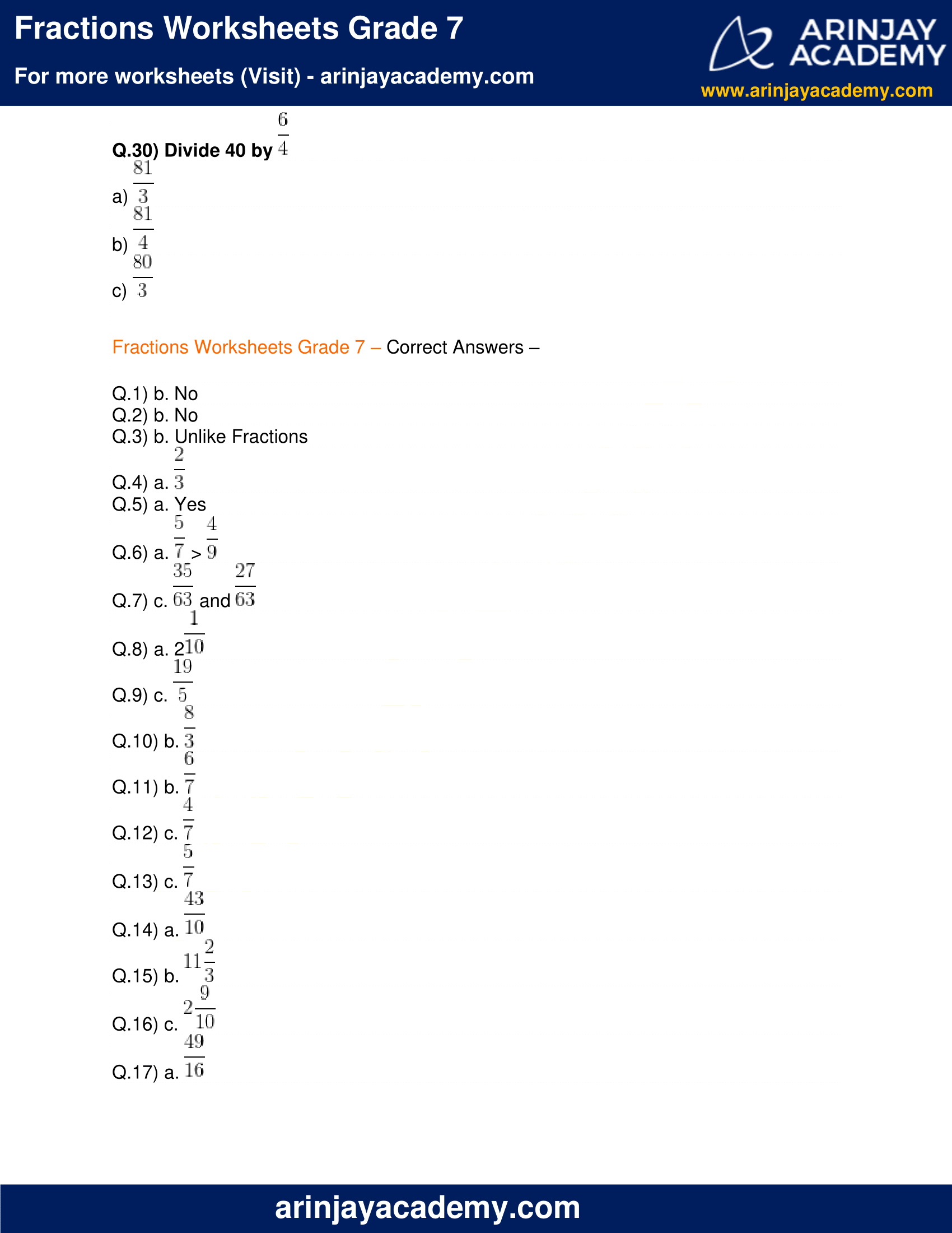 Fractions Worksheets Grade 7 image 7