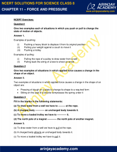 NCERT Solutions for Class 8 Science Chapter 11 Force and Pressure image 1