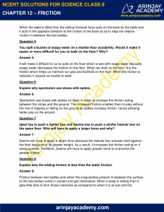 NCERT Solutions for Class 8 Science Chapter 12 Friction image 3