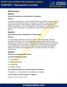 NCERT Solutions for Class 8 Science Chapter 9 Reproduction in Animals image 1