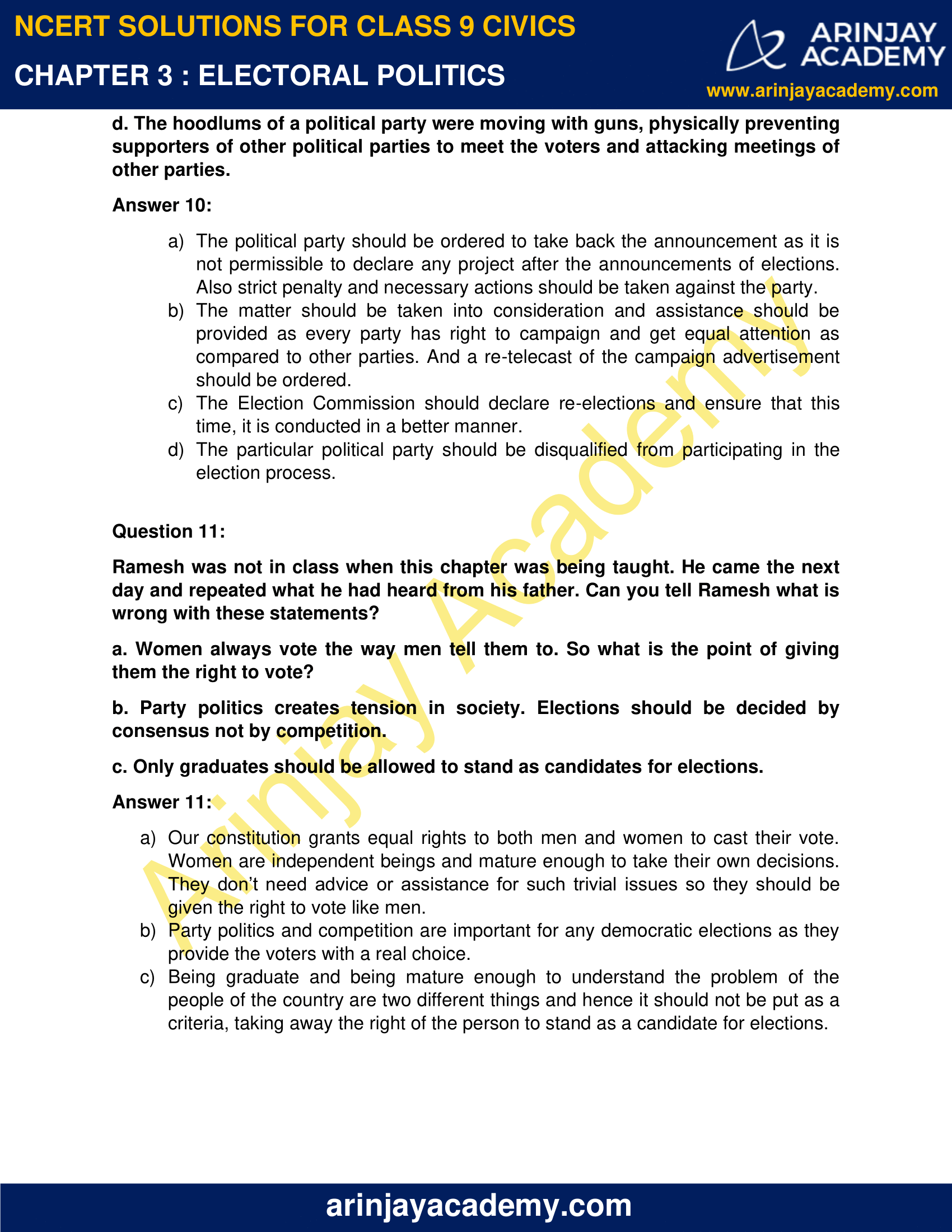 NCERT Solutions for Class 9 Civics Chapter 3 - Electoral Politics image 7