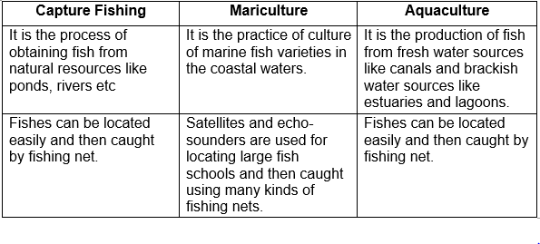 How do you differentiate between capture fishing, mariculture and aquaculture