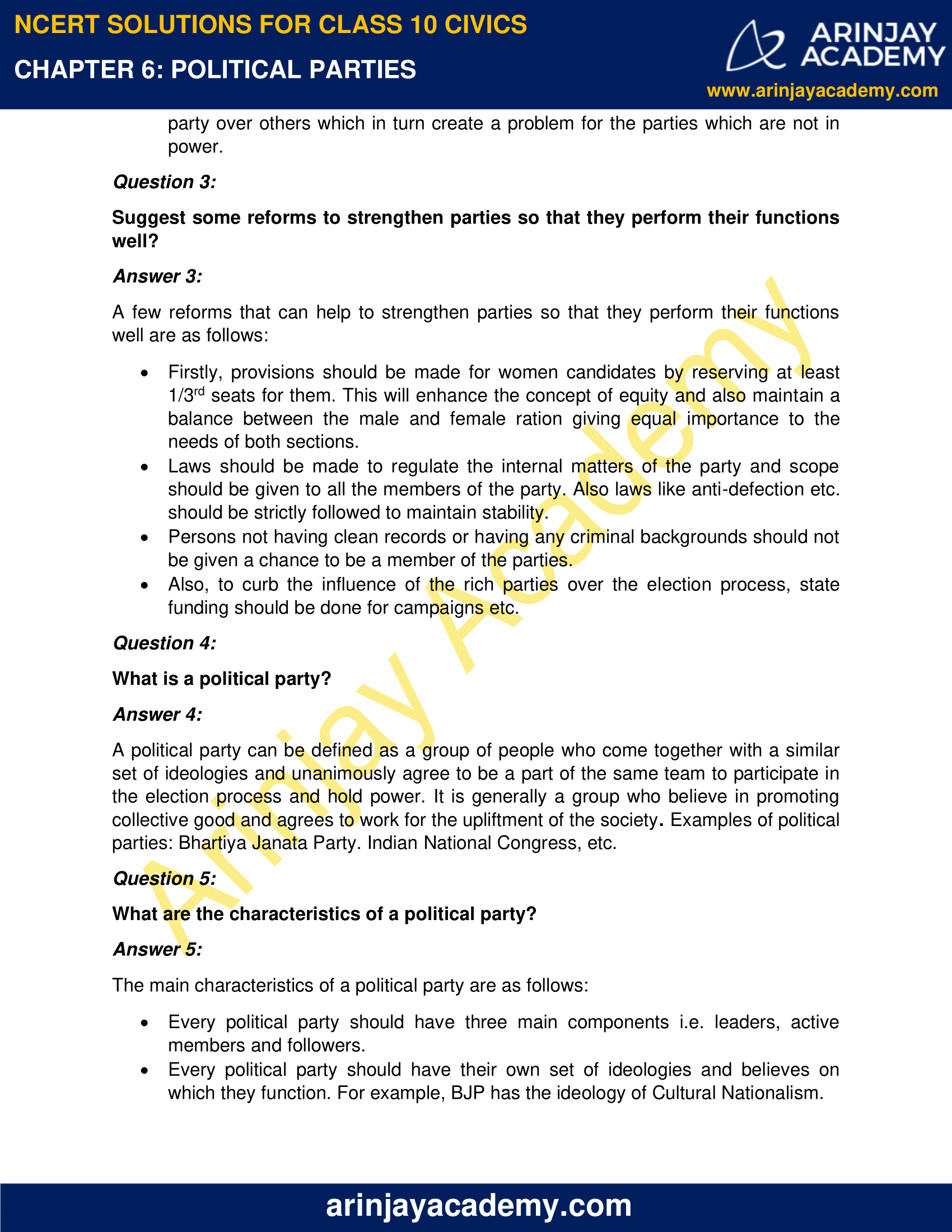 NCERT Solutions for Class 10 Civics Chapter 6 Political Parties image 2